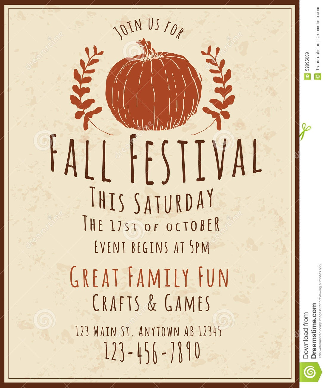 003 Fall Festival Flyers Templates Flyer Template Simple Retro Hand - Free Printable Fall Festival Flyer Templates