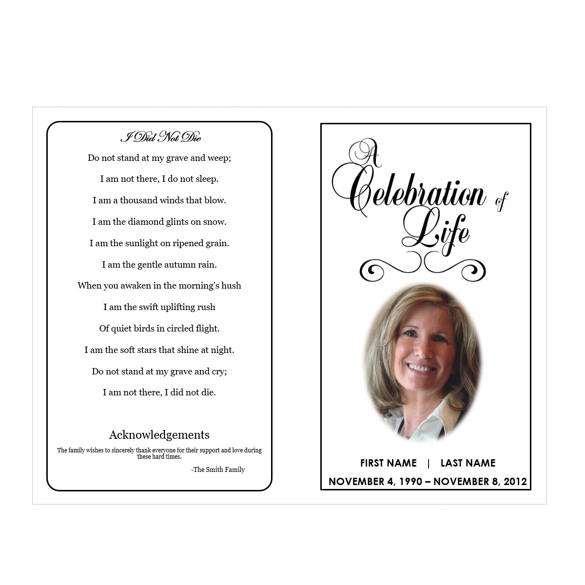 004 Traditional1 Blank Funeral Program Template Frightening Ideas - Free Printable Funeral Program Template