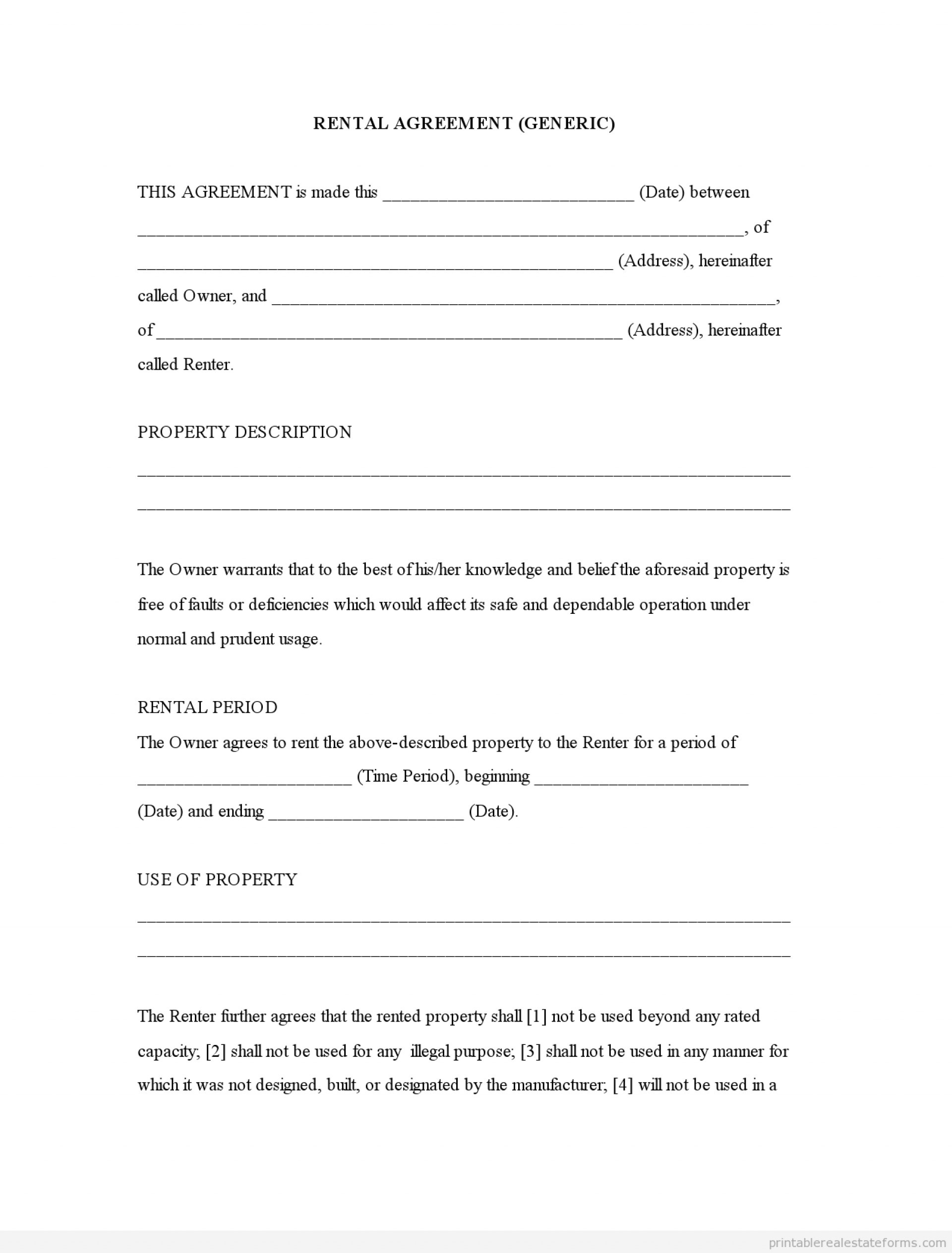 008 Free Printable Basic Rental Agreement Lease Form Template Ideas - Rental Agreement Forms Free Printable