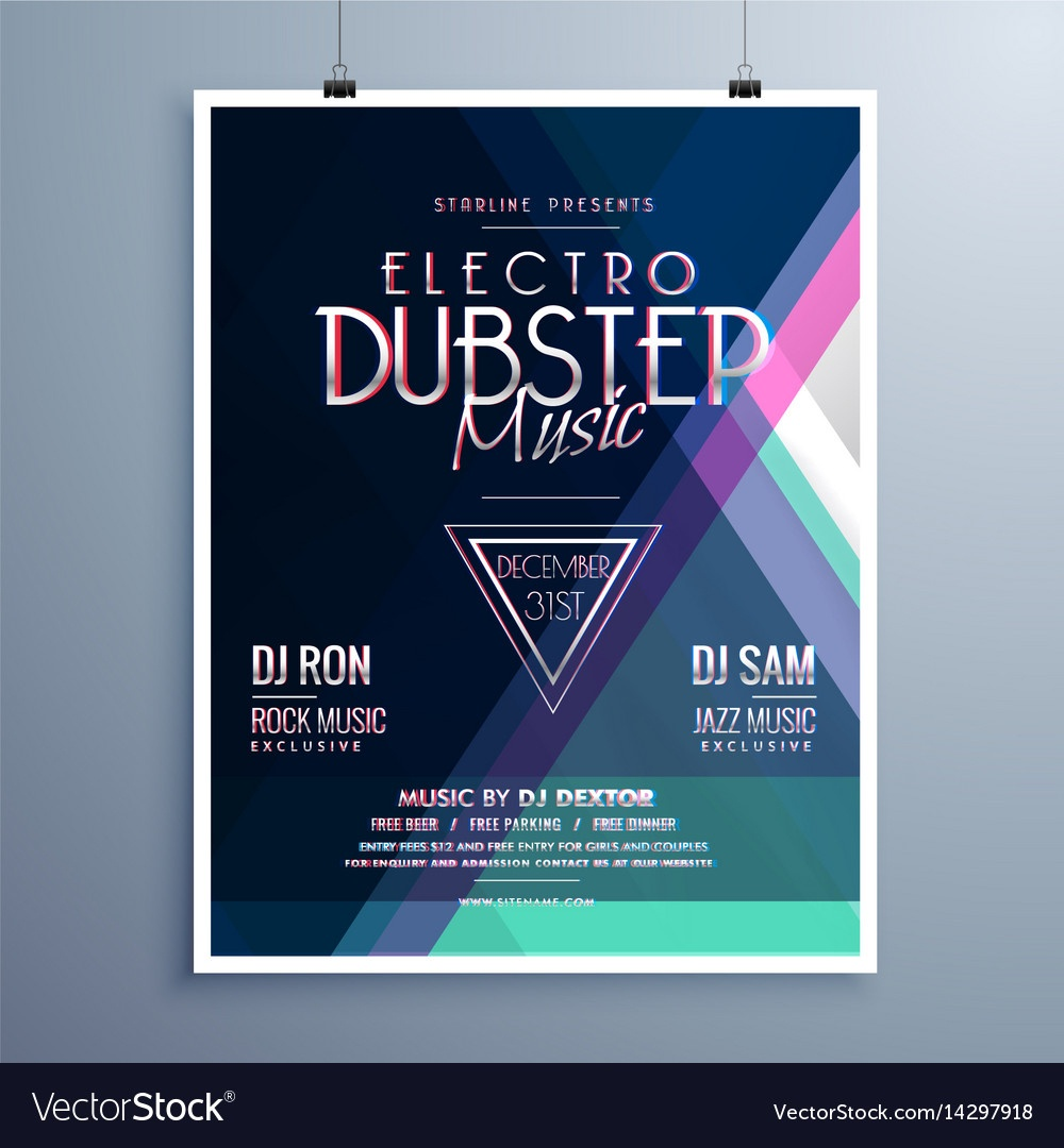009 Electro Music Party Event Flyer Template Vector Free Templates - Free Printable Event Flyer Templates
