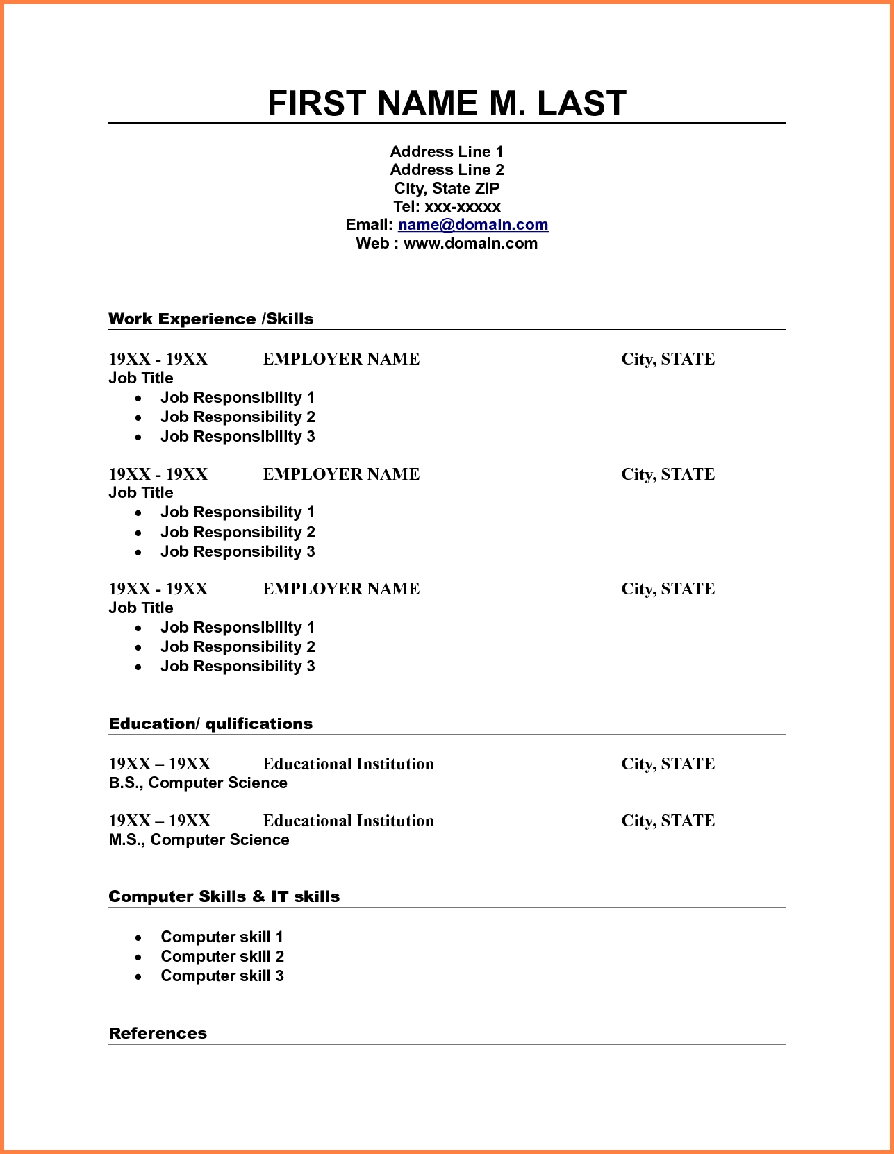 10 Blank Resume Template Pdf Professional List Free Printable 3 - Free Printable Blank Resume