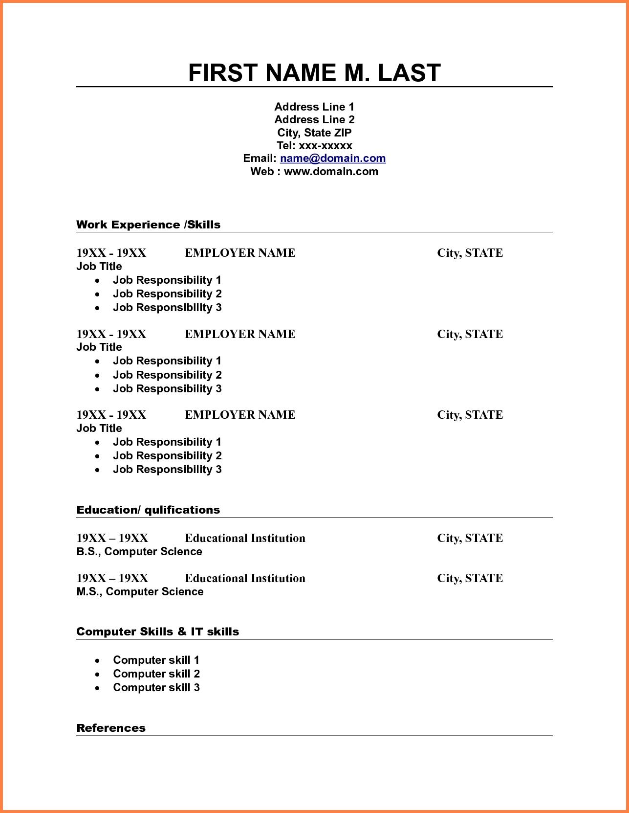10 Blank Resume Template Pdf Professional List Free Printable 3 - Free Printable Fill In The Blank Resume Templates