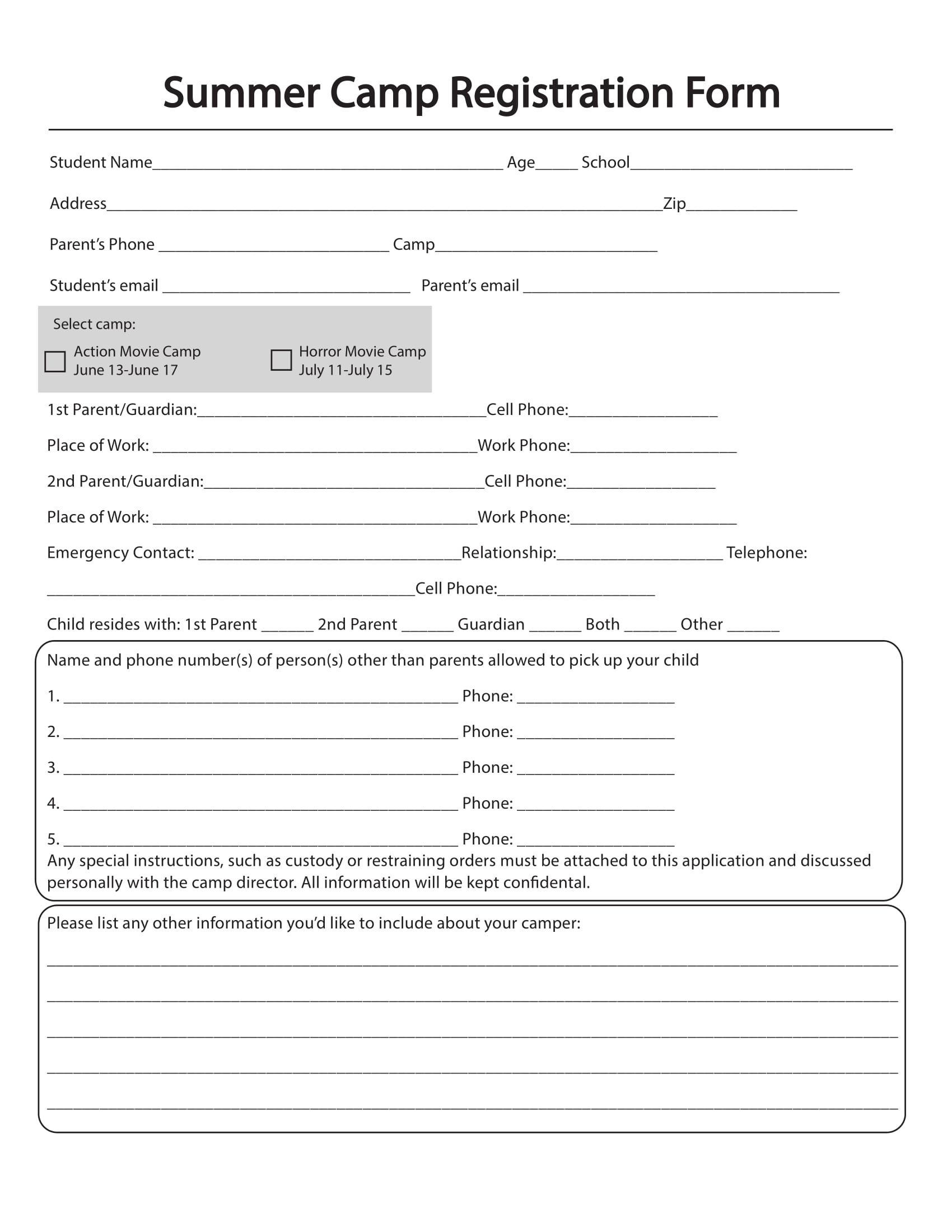 10+ Printable Summer Camp Registration Forms - Pdf - Free Printable Summer Camp Registration Forms