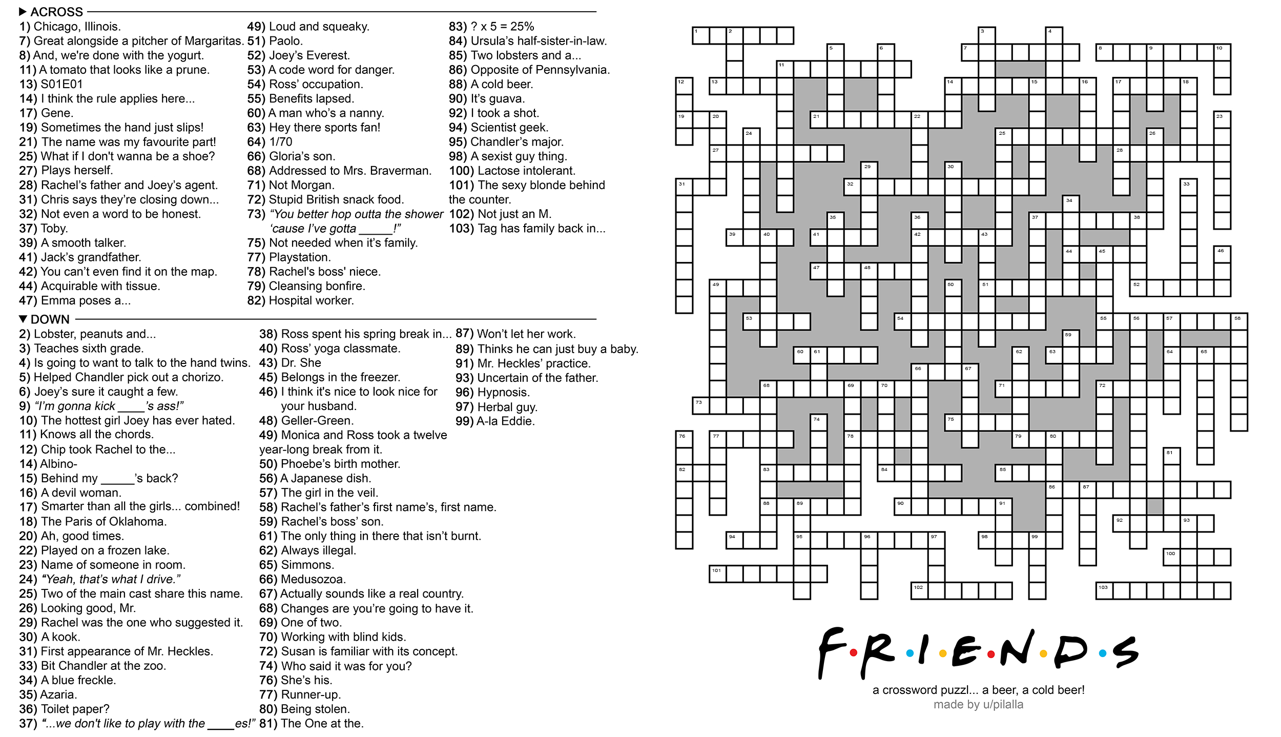 104 Word 'friends' Themed Crossword Puzzle : Howyoudoin - Free Printable Themed Crossword Puzzles