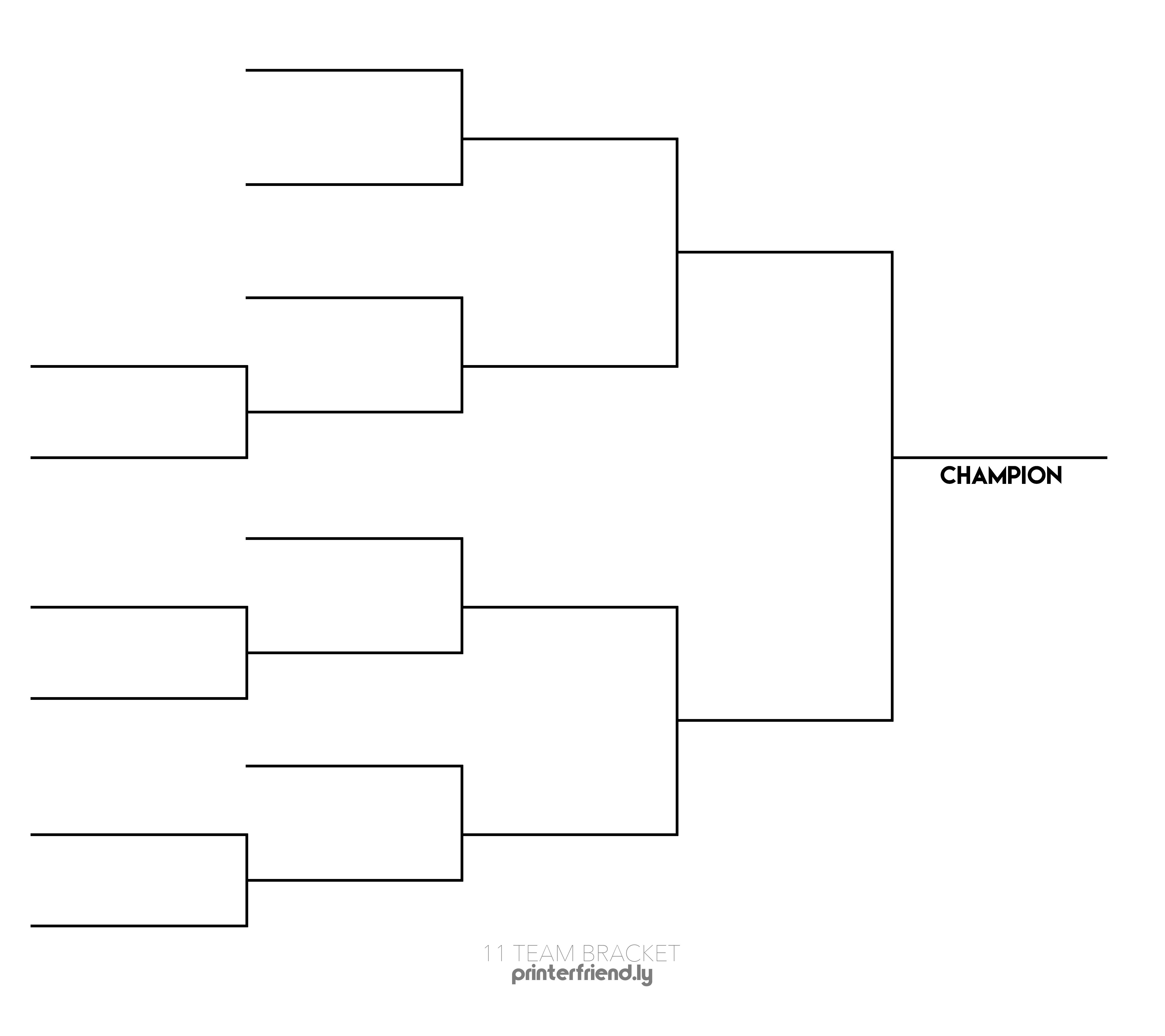 11 Team Printable Tournament Bracket - Printerfriendly - Free Printable Wrestling Brackets