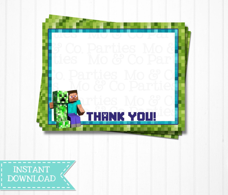 13 Best Photos Of Free Printable Minecraft Thank You - Free - Free Printable Minecraft Thank You Notes