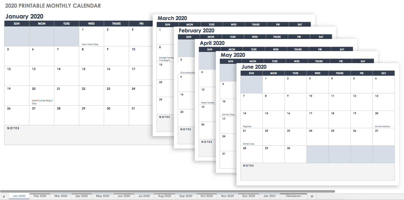 15 Free Monthly Calendar Templates | Smartsheet - Free Printable Data Sheets
