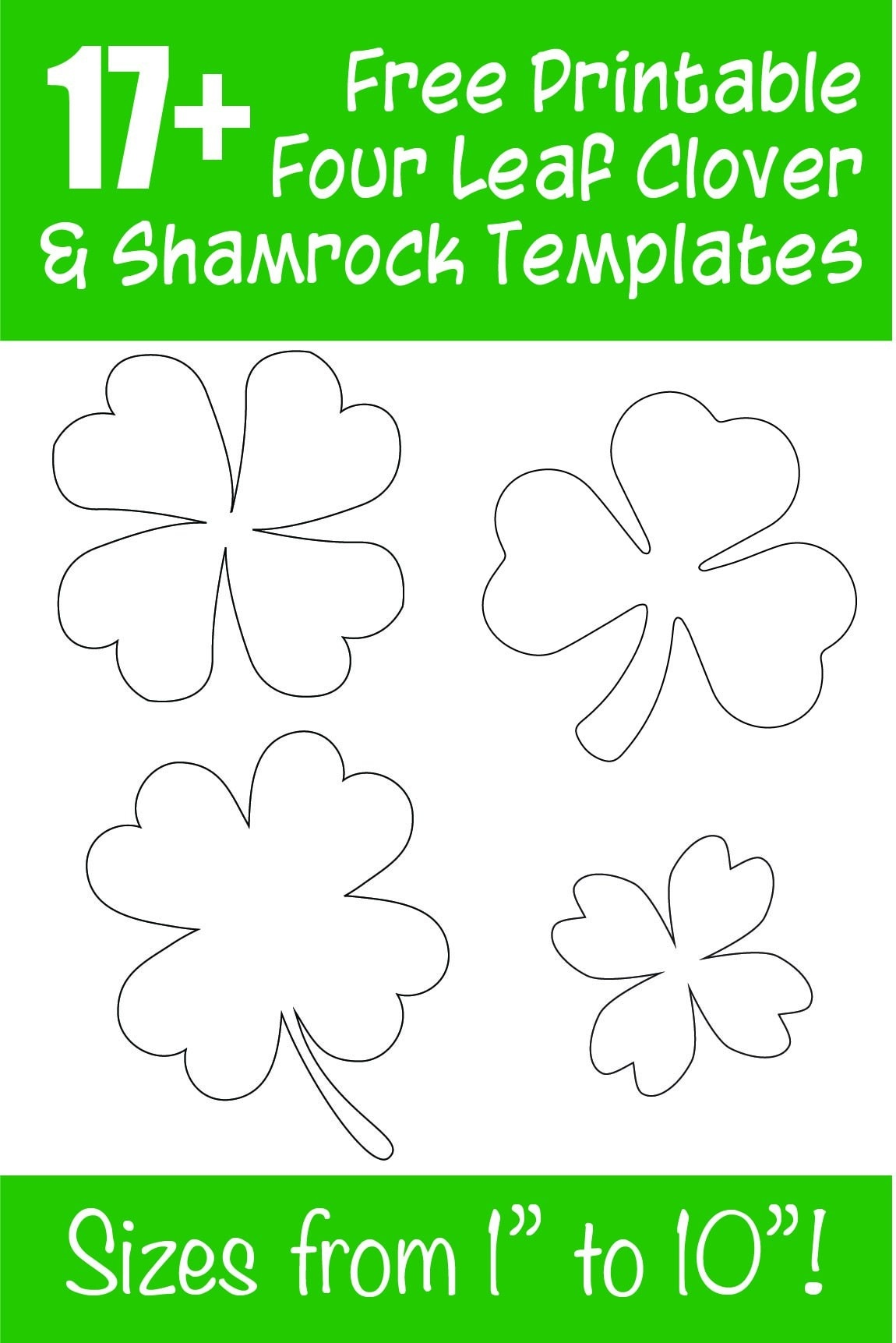 17+ Free Printable Four Leaf Clover & Shamrock Templates - The - Four Leaf Clover Template Printable Free