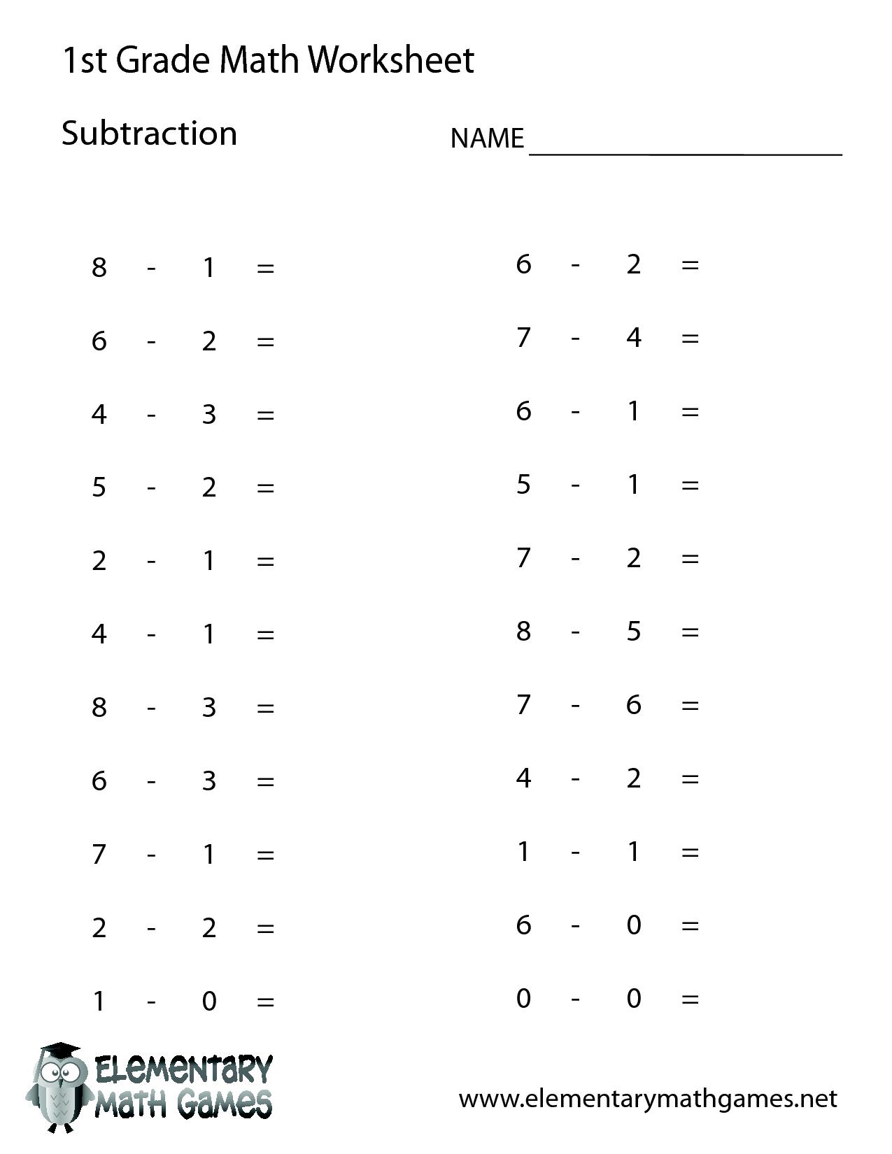 1St Grade Math Worksheets | 1St Grade Math | First Grade Math - Free Printable Addition Worksheets For 1St Grade