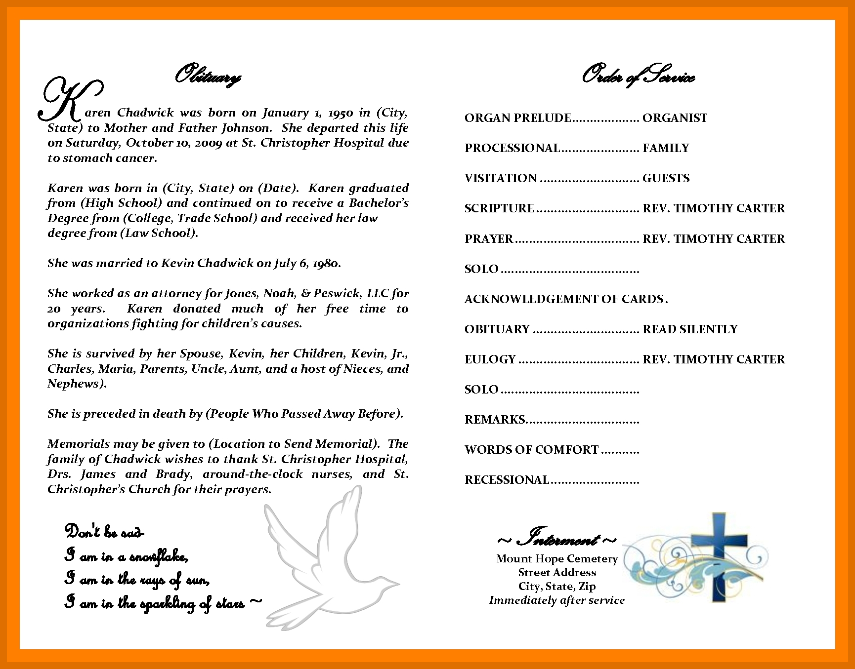 2-3 Obituary Template | Sowtemplate - Free Printable Obituary