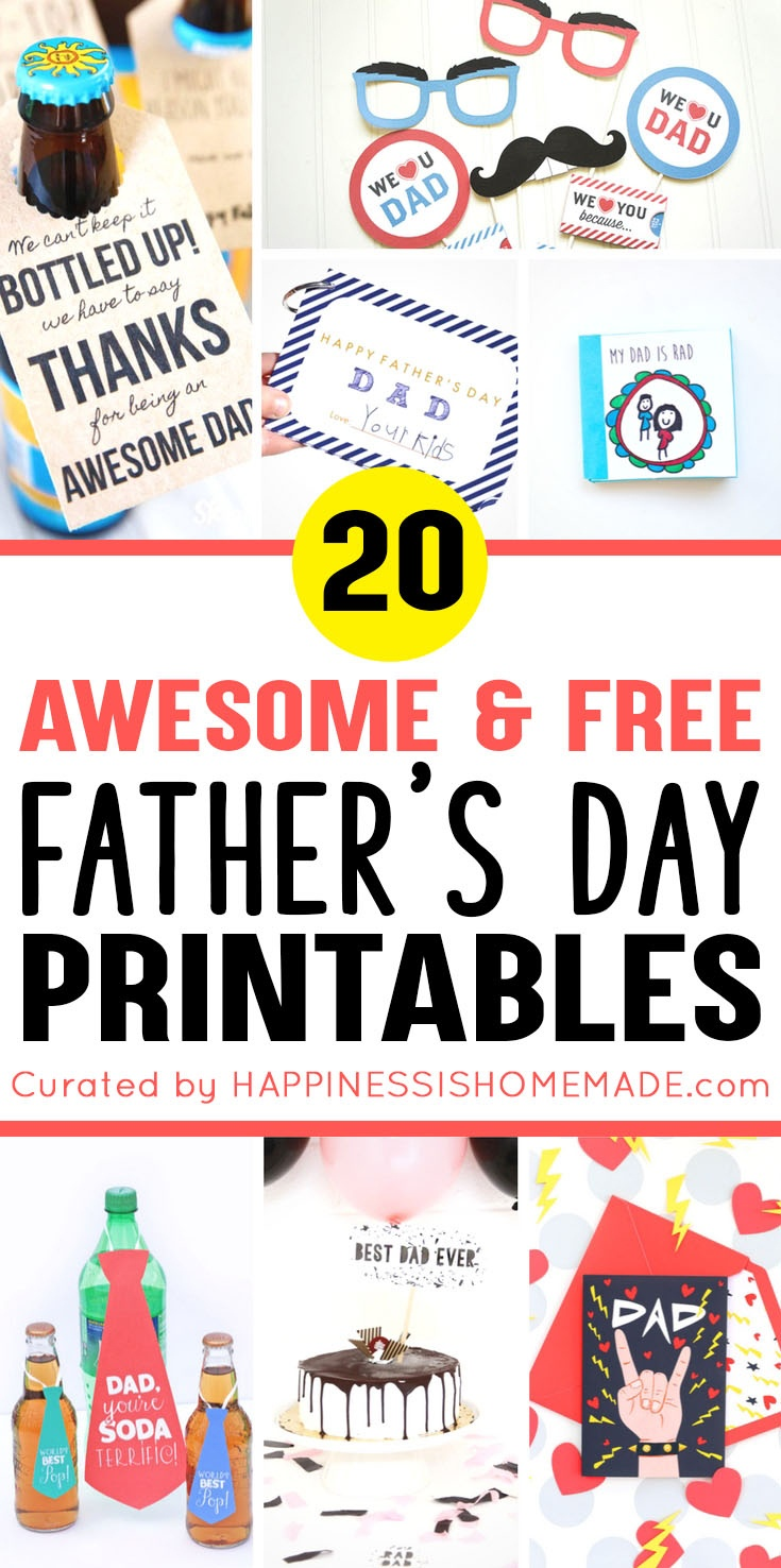 20+ Free Father's Day Printables - Happiness Is Homemade - Free Happy Fathers Day Cards Printable