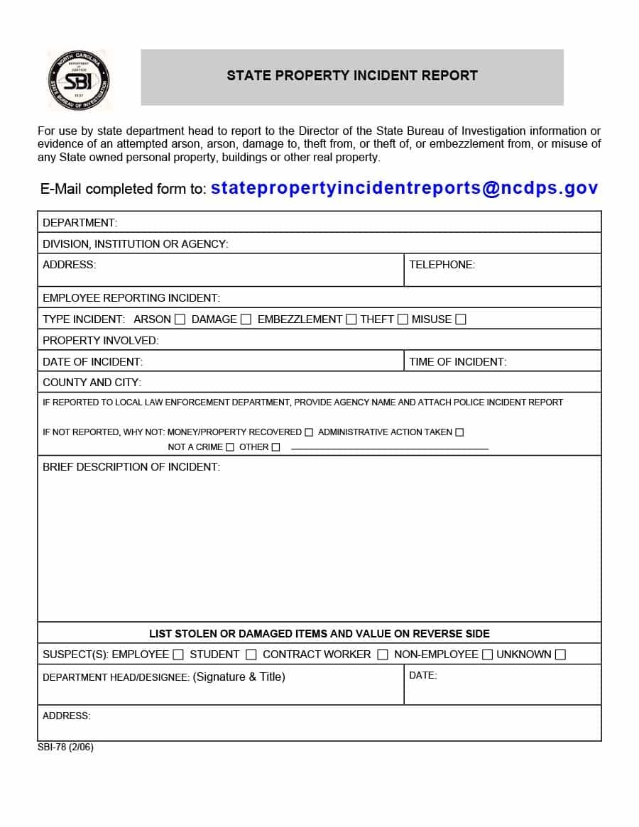20+ Police Report Template & Examples [Fake / Real] ᐅ Template Lab - Free Printable Incident Report Form