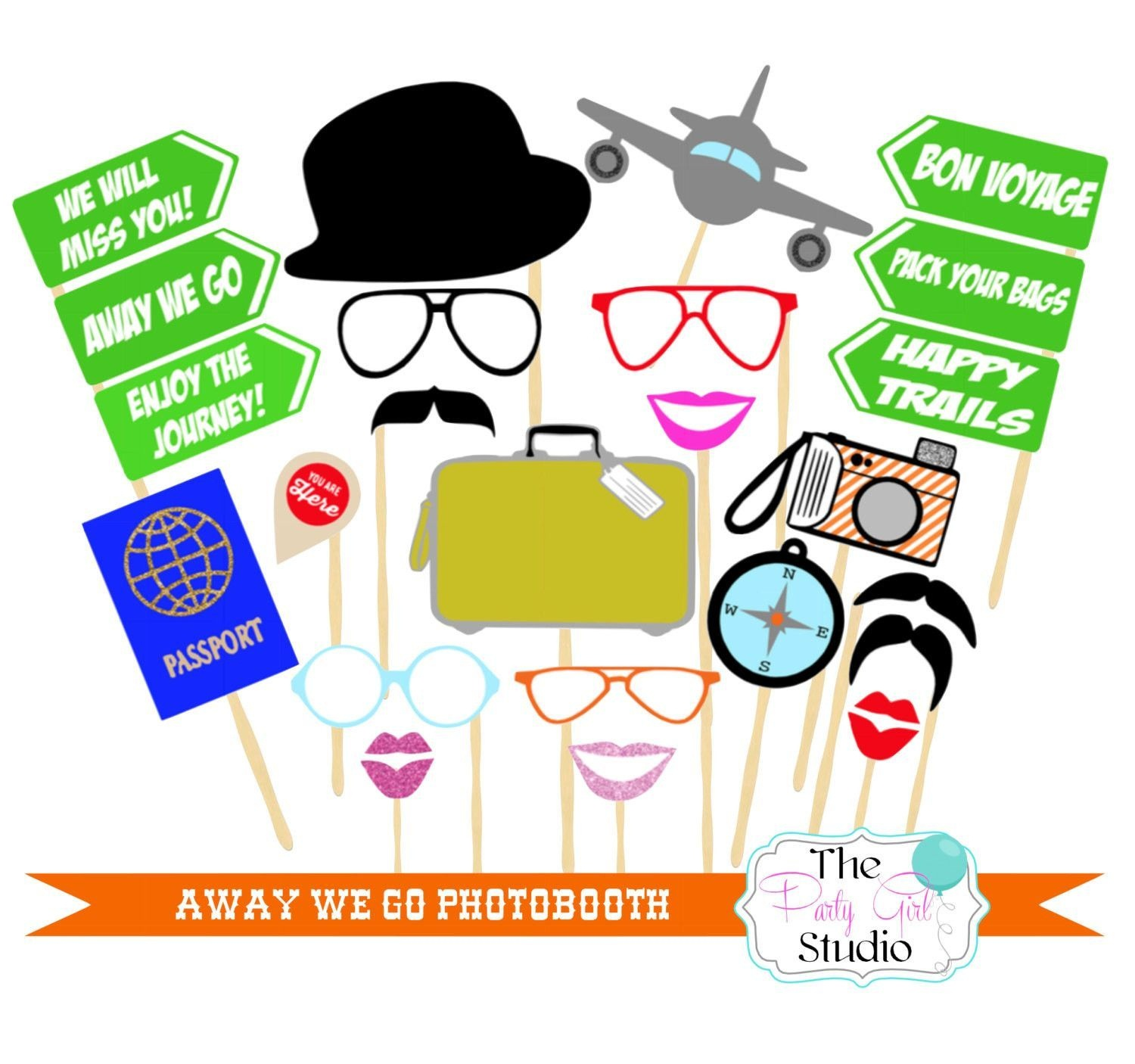 23 Pc * Away We Go Photobooth Props - Digital File | Going Away - Free Printable 70's Photo Booth Props
