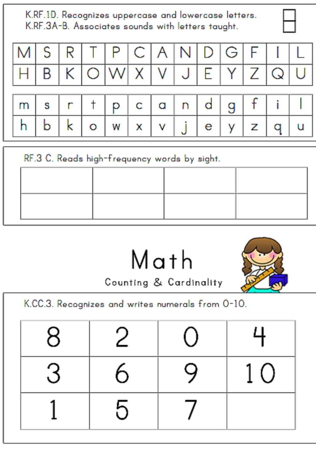 24 Page, Illustrated Kindergarten Assessment | Assessments - Free Printable Informal Math Assessments