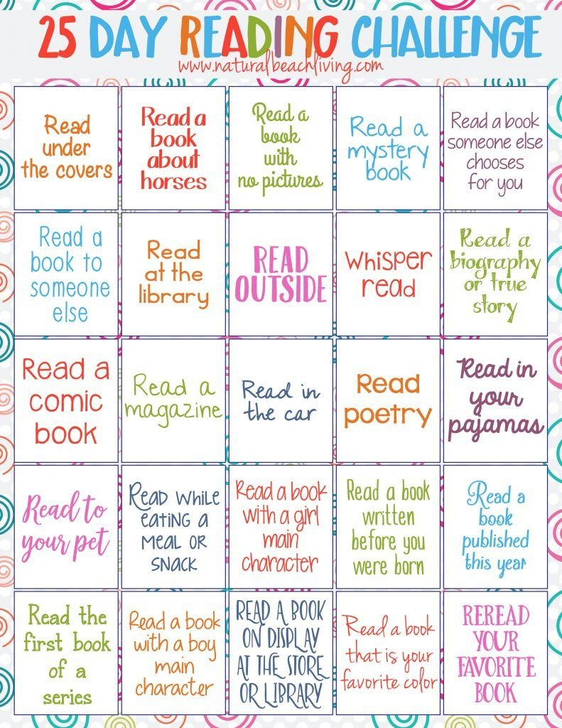 25 Day Reading Challenge For Kids | Natural Beach Living | Summer - Free Printable Reading Recovery Books