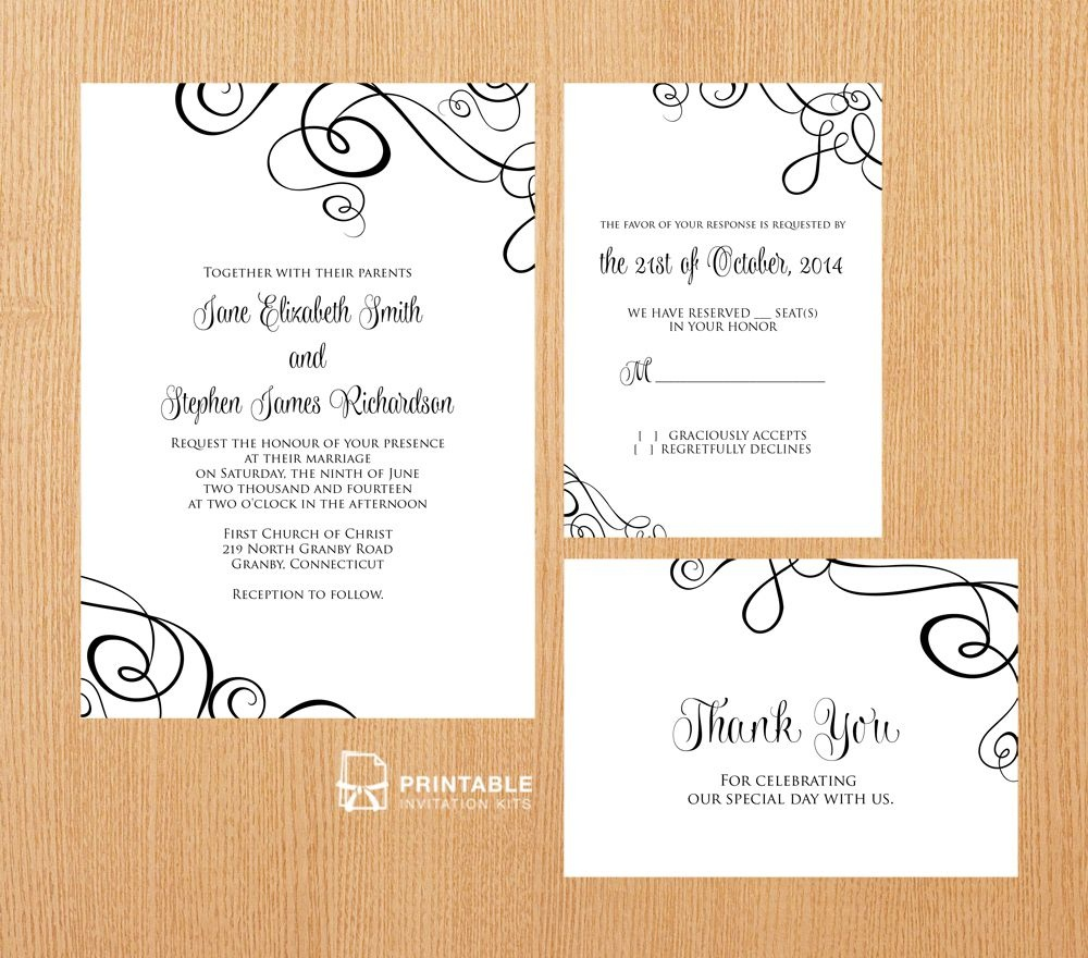 25 Free Printable Wedding Invitations - Free Printable Wedding Invitation Kits