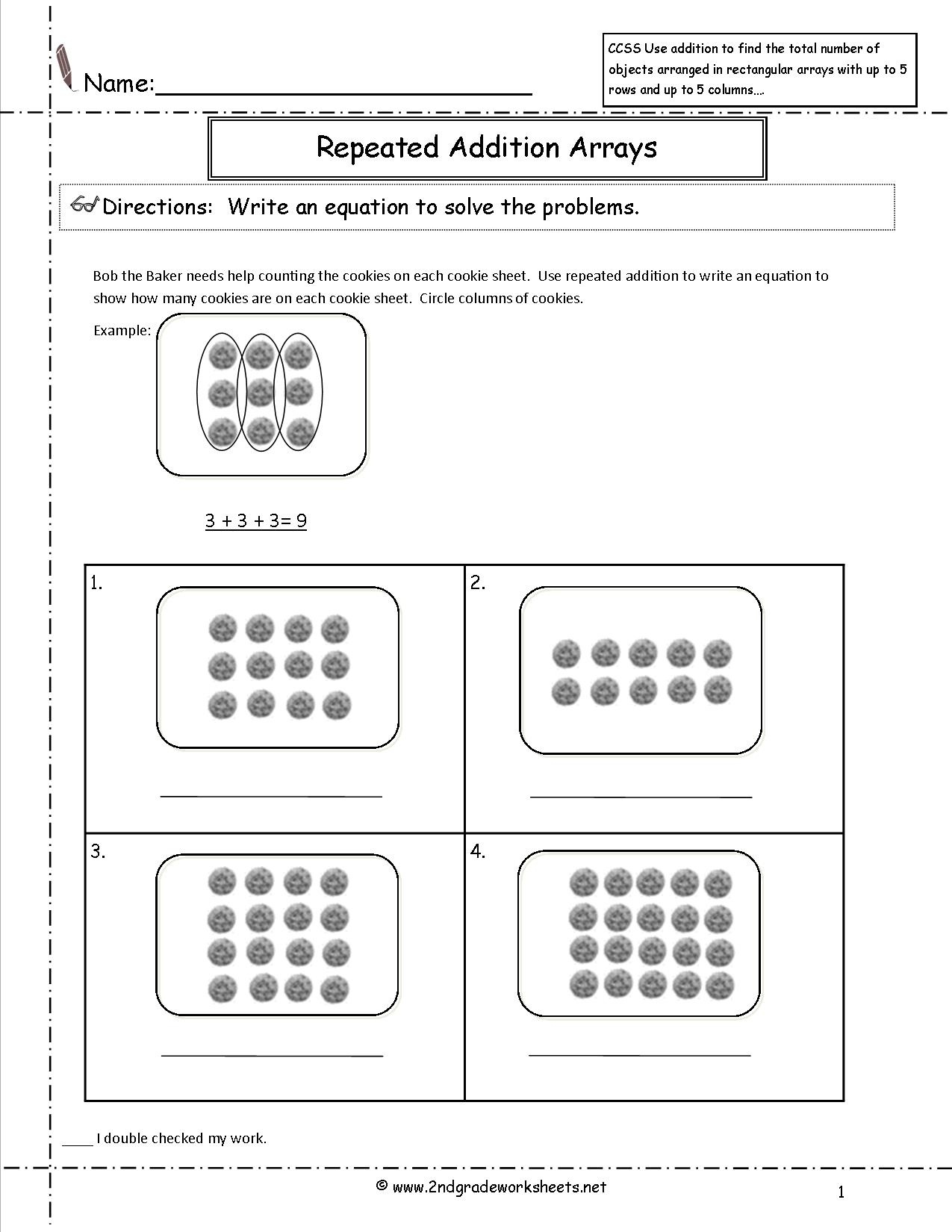 2Nd Grade Math Common Core State Standards Worksheets - Free Printable Common Core Math Worksheets For Third Grade