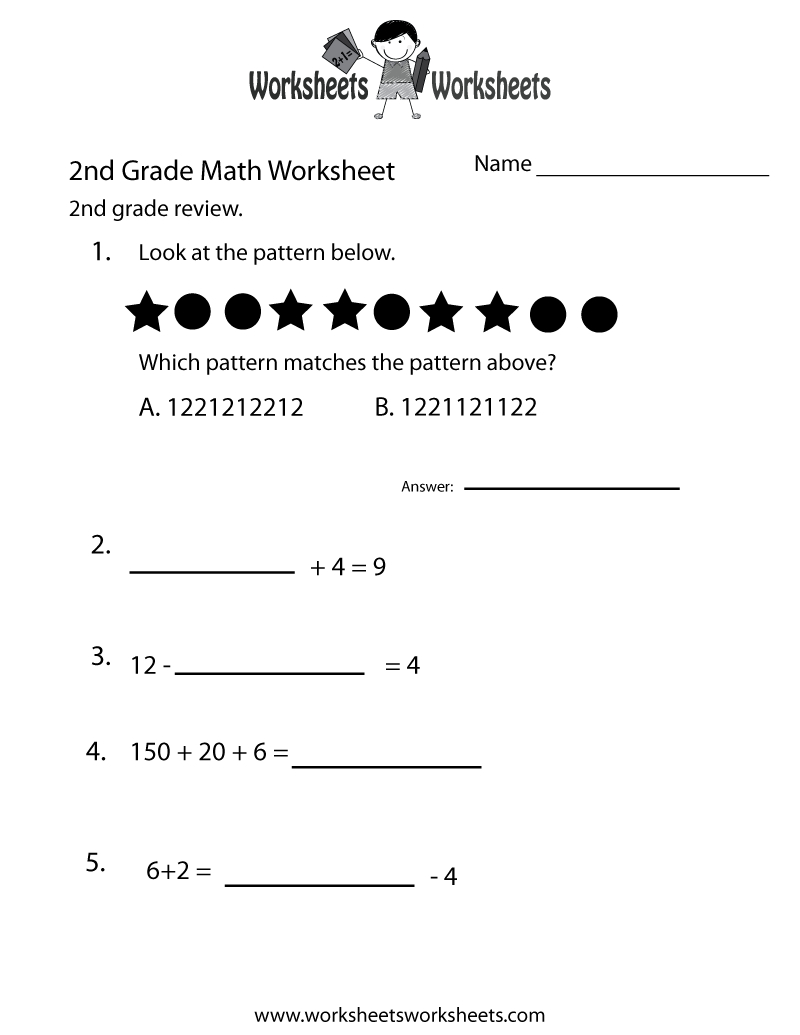2Nd Grade Math Review Worksheet - Free Printable Educational - Year 2 Free Printable Worksheets