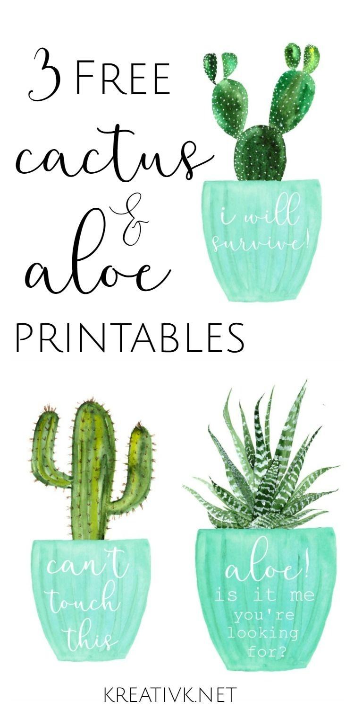 3 Free Cactus & Aloe Printables | Free Printables | Classroom Design - Free Printable Cactus