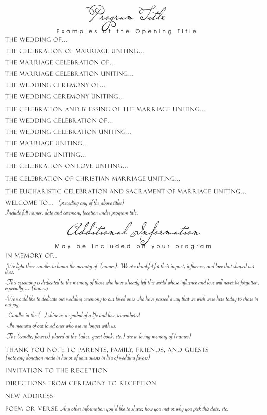 37 Printable Wedding Program Examples & Templates ᐅ Template Lab - Free Printable Wedding Party List