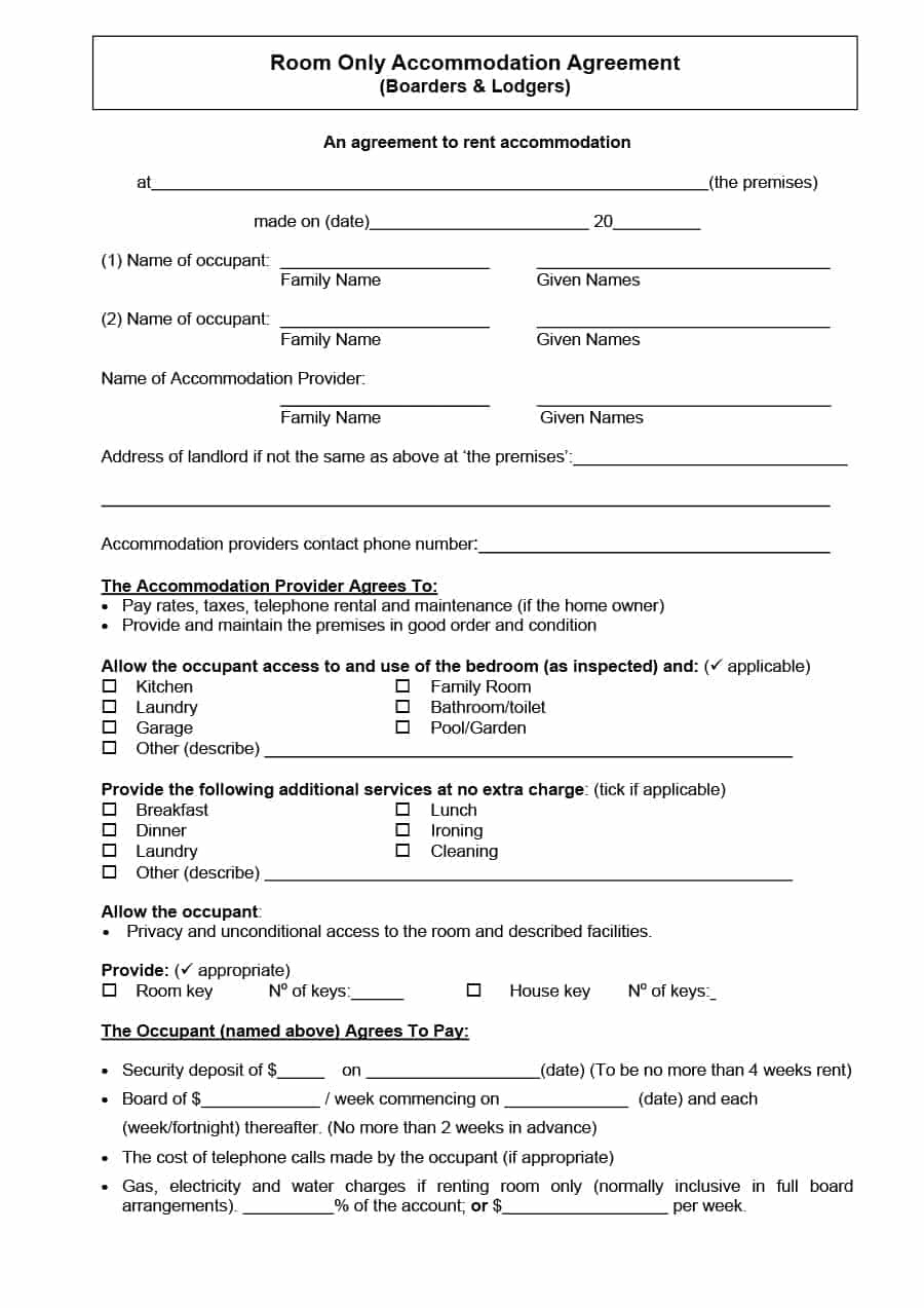 39 Simple Room Rental Agreement Templates - Template Archive - Free Printable Roommate Rental Agreement