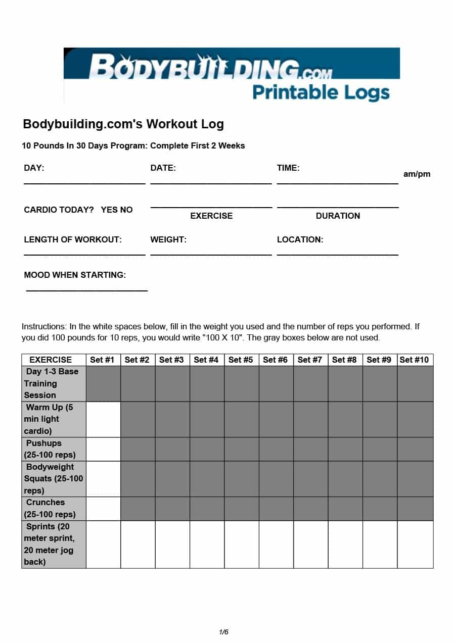 40+ Effective Workout Log & Calendar Templates ᐅ Template Lab - Free Printable Workout Plans