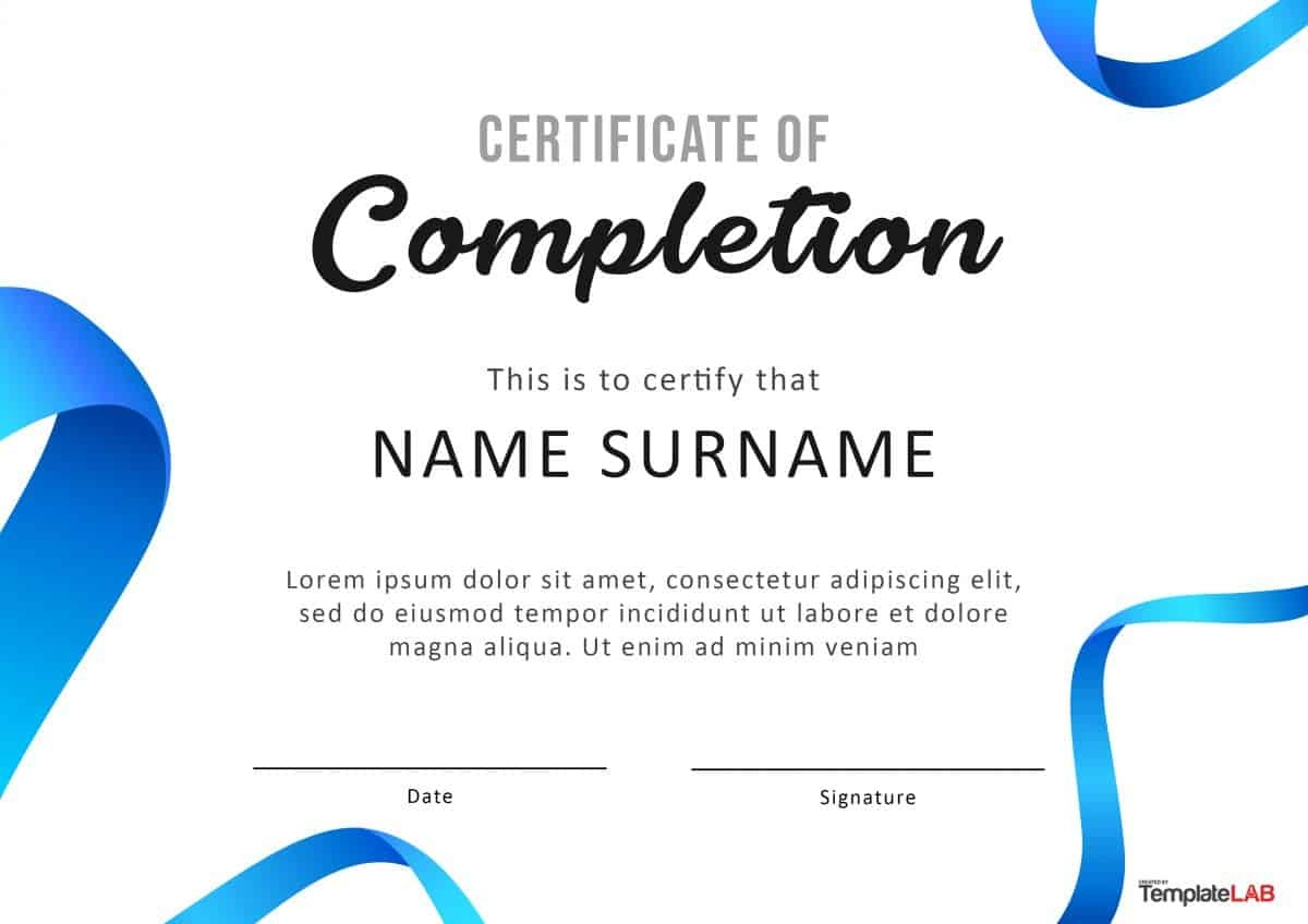 40 Fantastic Certificate Of Completion Templates [Word, Powerpoint] - Free Printable College Degrees