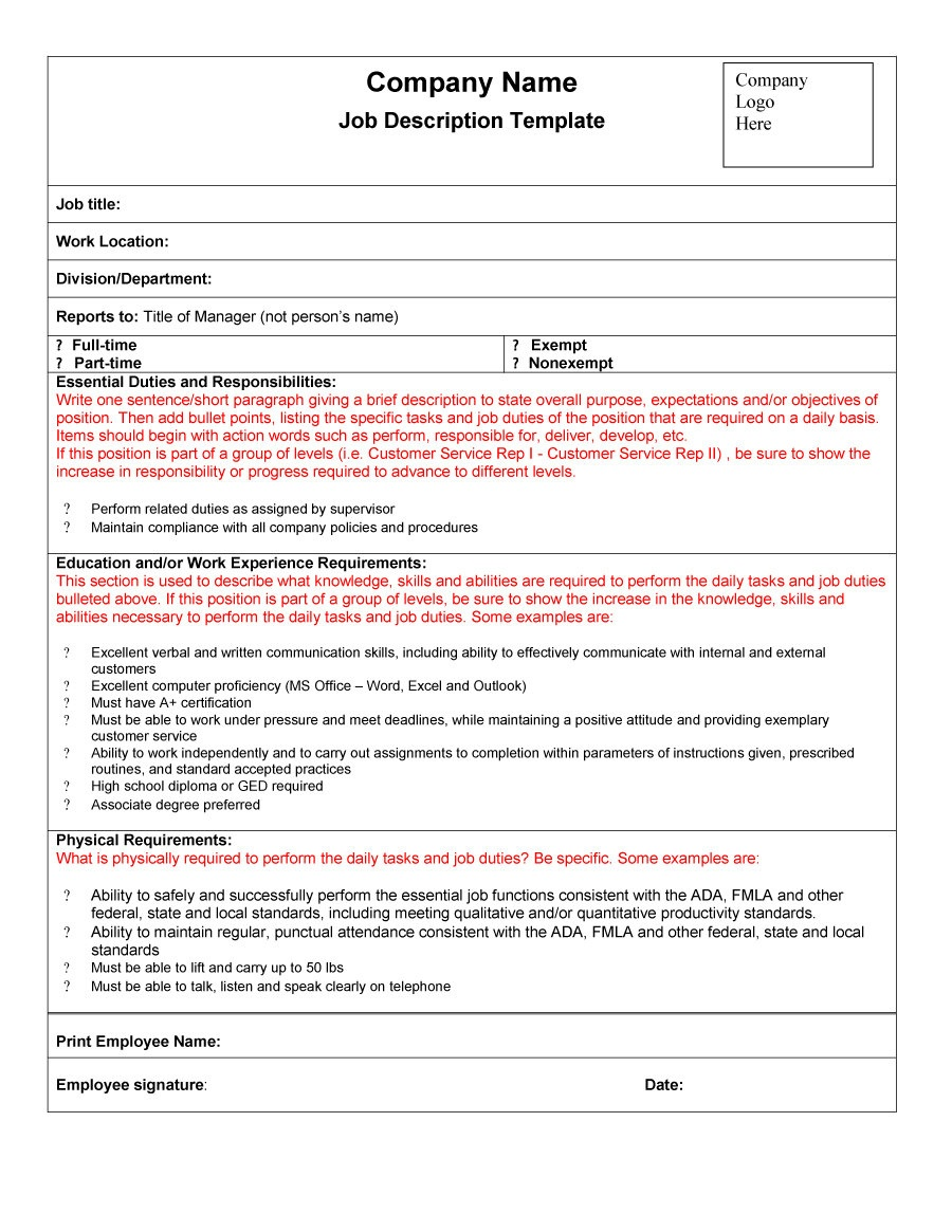 47 Job Description Templates & Examples ᐅ Template Lab - Free Printable Job Description Template