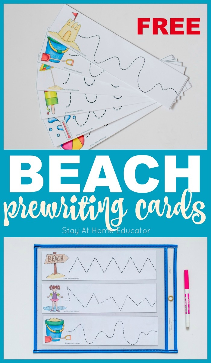 5 Beach Theme Printables Plus Free Prewriting Cards Printable - Stay - Free Printable Beach Pictures