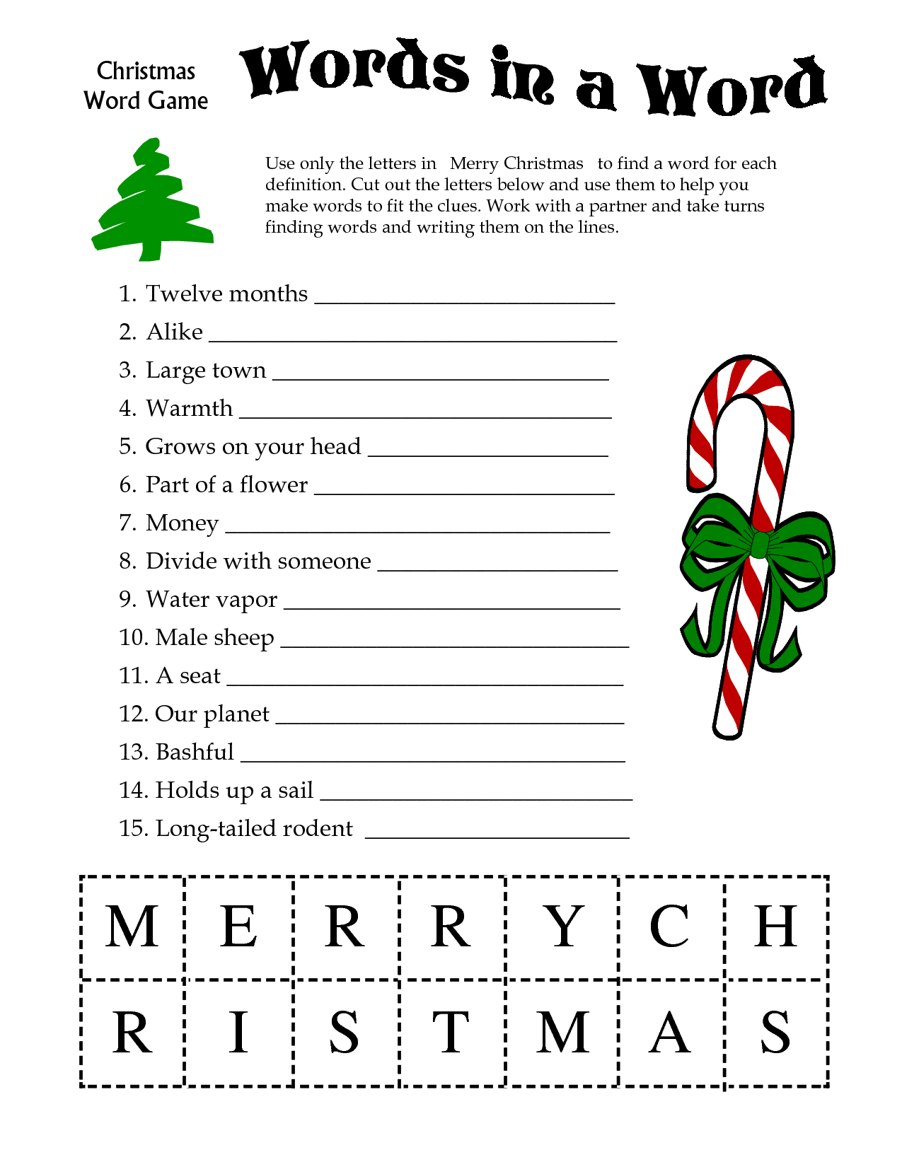 5 Images Of Free Printable Christmas Word Games | Printablee - Free Printable Christmas Puzzles