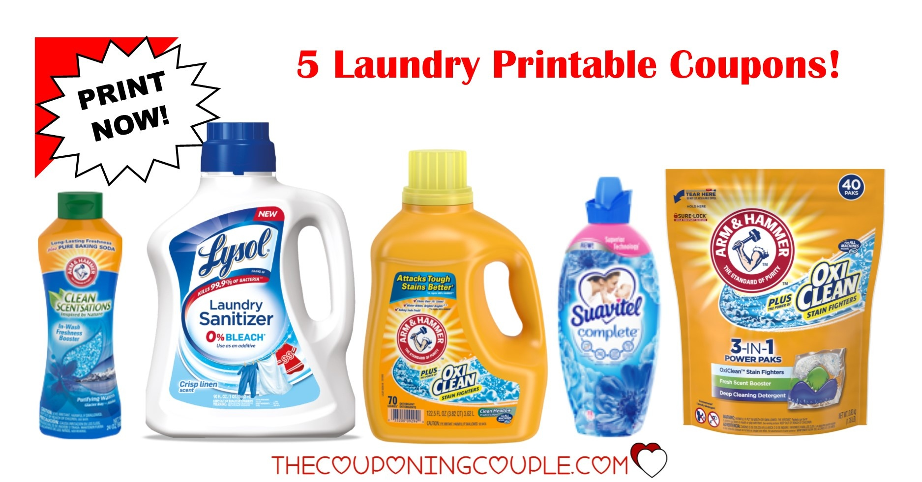 5 Laundry Detergent Printable Coupons ~ $5.50 In Savings!!! - Free Detergent Coupons Printable