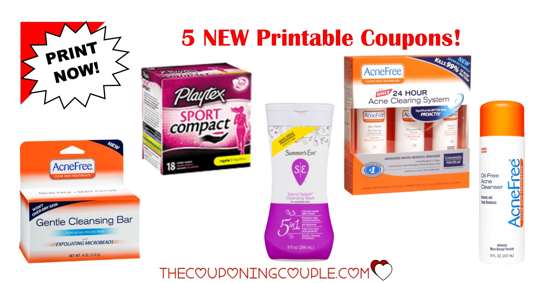 5 New Printable Coupons ~ $13.50 In Savings! Print Now! - Acne Free Coupons Printable