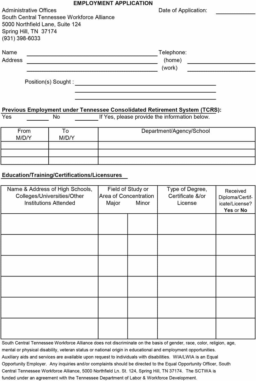 50 Free Employment / Job Application Form Templates [Printable] ᐅ - Free Printable General Application For Employment