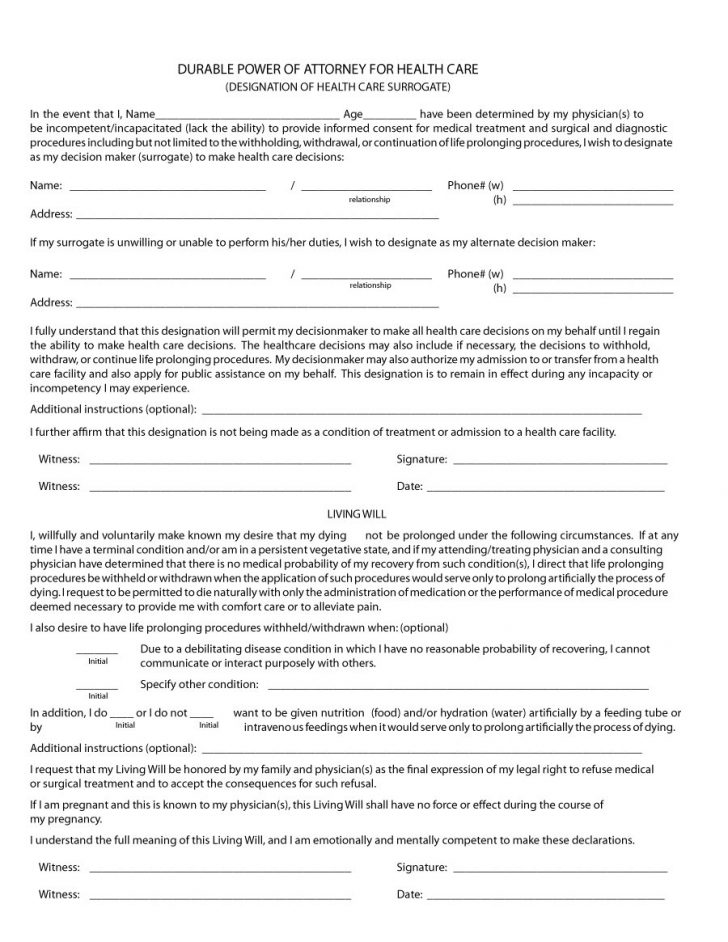 Free Printable Medical Power Of Attorney Forms