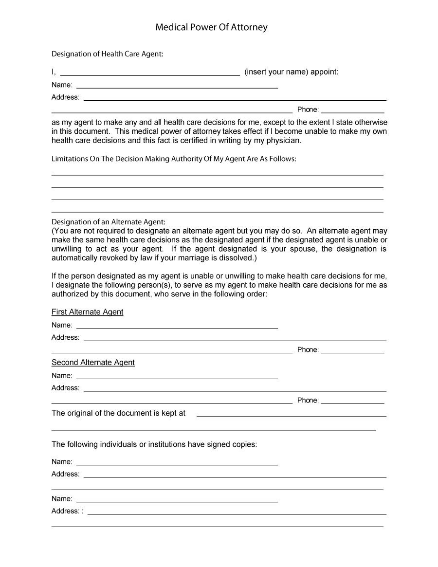 50 Free Power Of Attorney Forms & Templates (Durable, Medical,general) - Free Printable Medical Power Of Attorney Forms