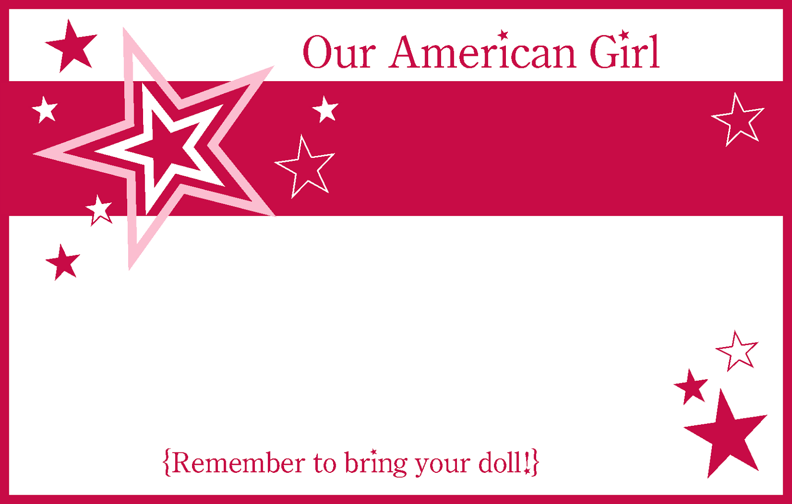 image regarding American Girl Printable titled American Female Occasion Invites Free of charge Printable Cost-free Printable