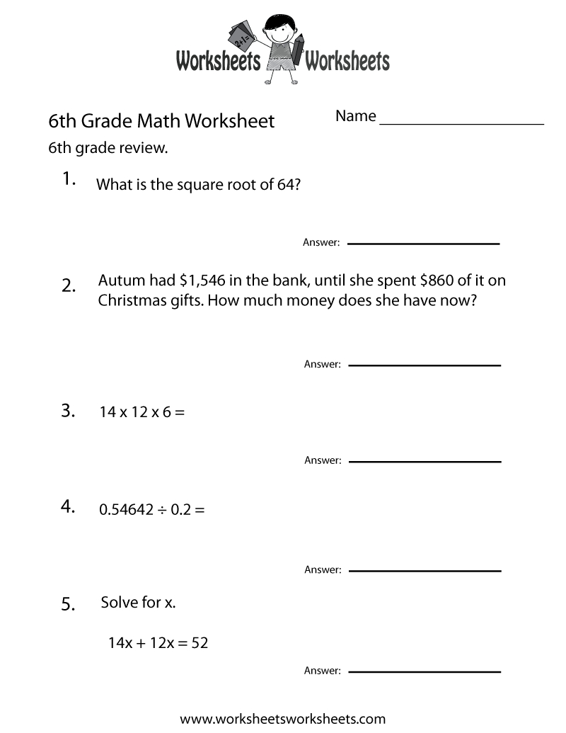6 Grade Math Worksheets | Sixth Grade Math Practice Worksheet - Free - Free Printable Common Core Math Worksheets For Third Grade