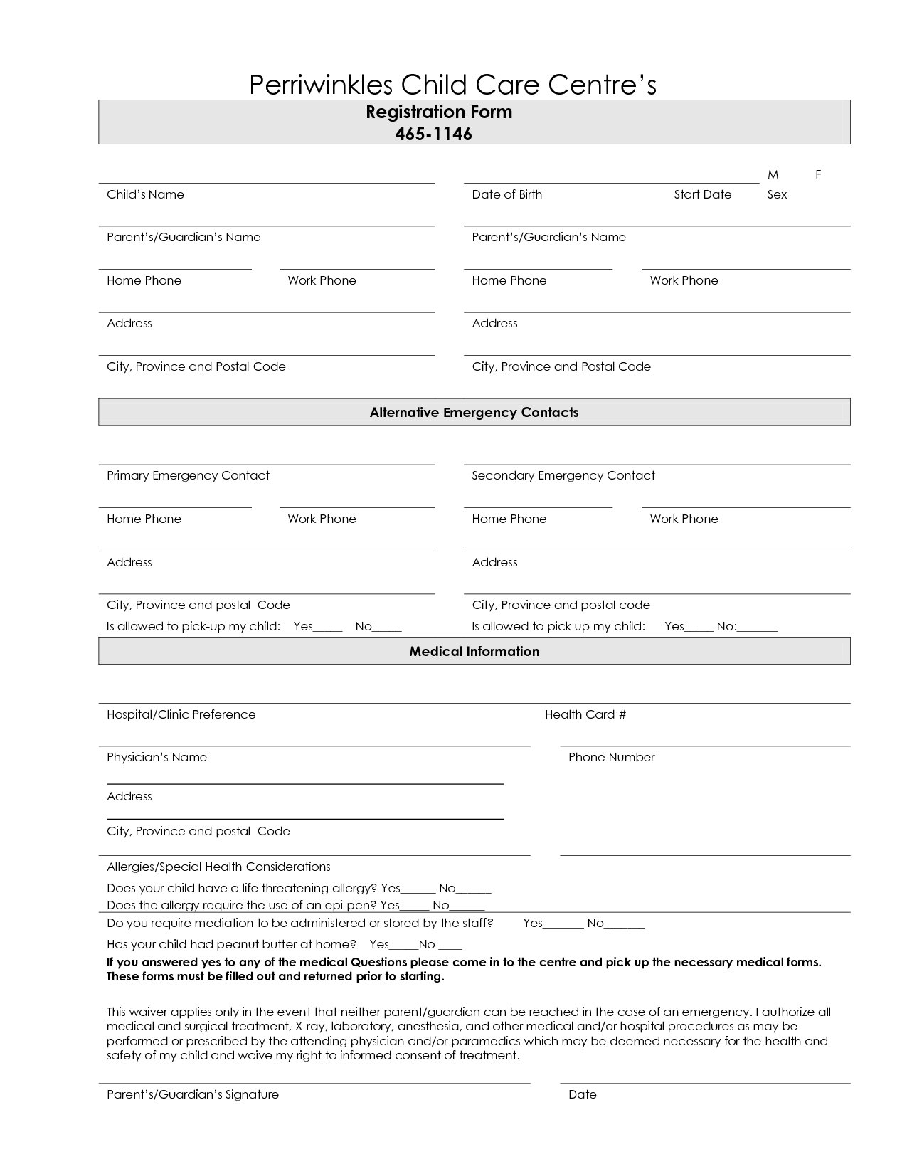 7 Best Images Of Printable Daycare Forms Free Daycare Contract Forms - Free Printable Daycare Forms For Parents
