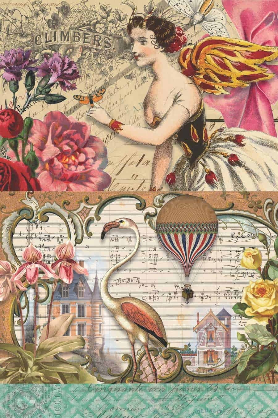 7 Free Creative Collage Sheet Printables For Decoupage Tissue Paper - Free Printable Decoupage Flowers