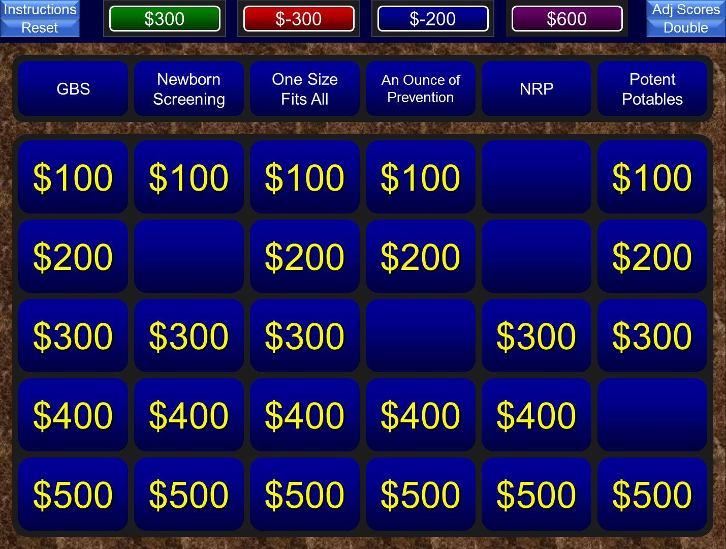 A Free Powerpoint Jeopardy Template For The Classroom. Keeps Track - Free Printable Jeopardy Template