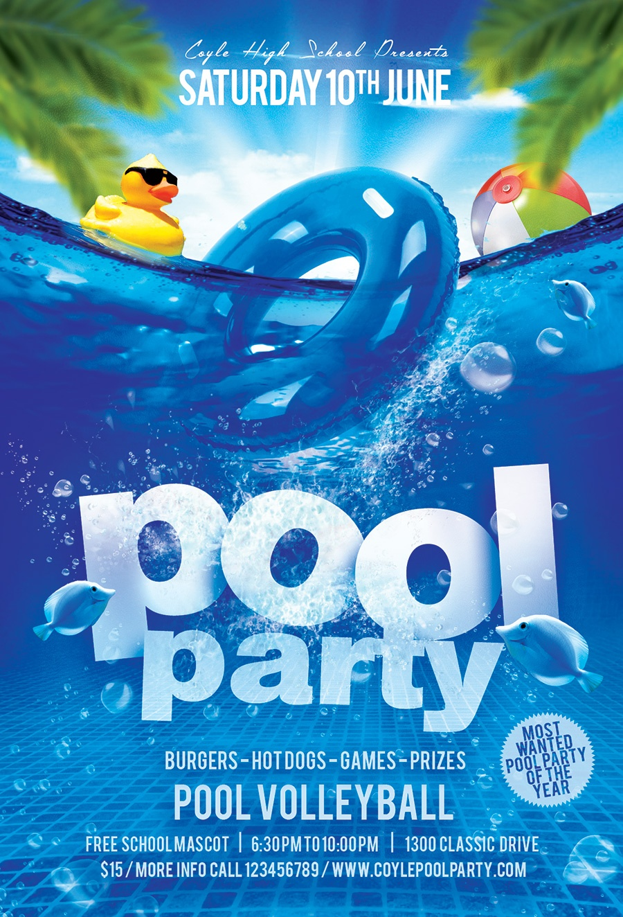 A K-12 Mascots Pool Party - Pool Party Flyers Free Printable