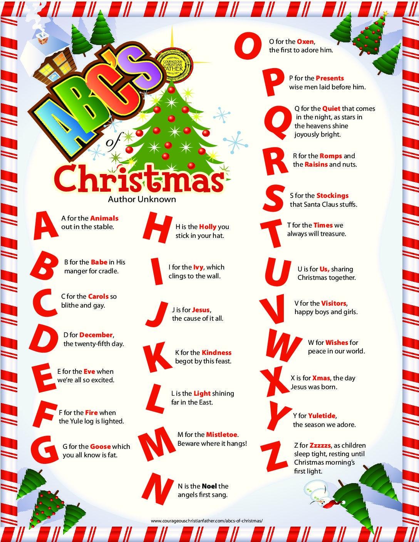 Abc's Of Christmas | Christmas | Christmas Alphabet, Christmas - Free Printable Christmas Alphabet