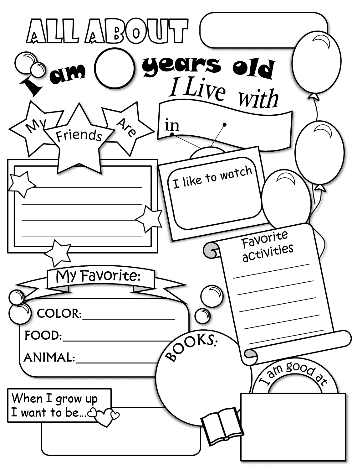 All About Me Worksheet - All About Me Free Printable