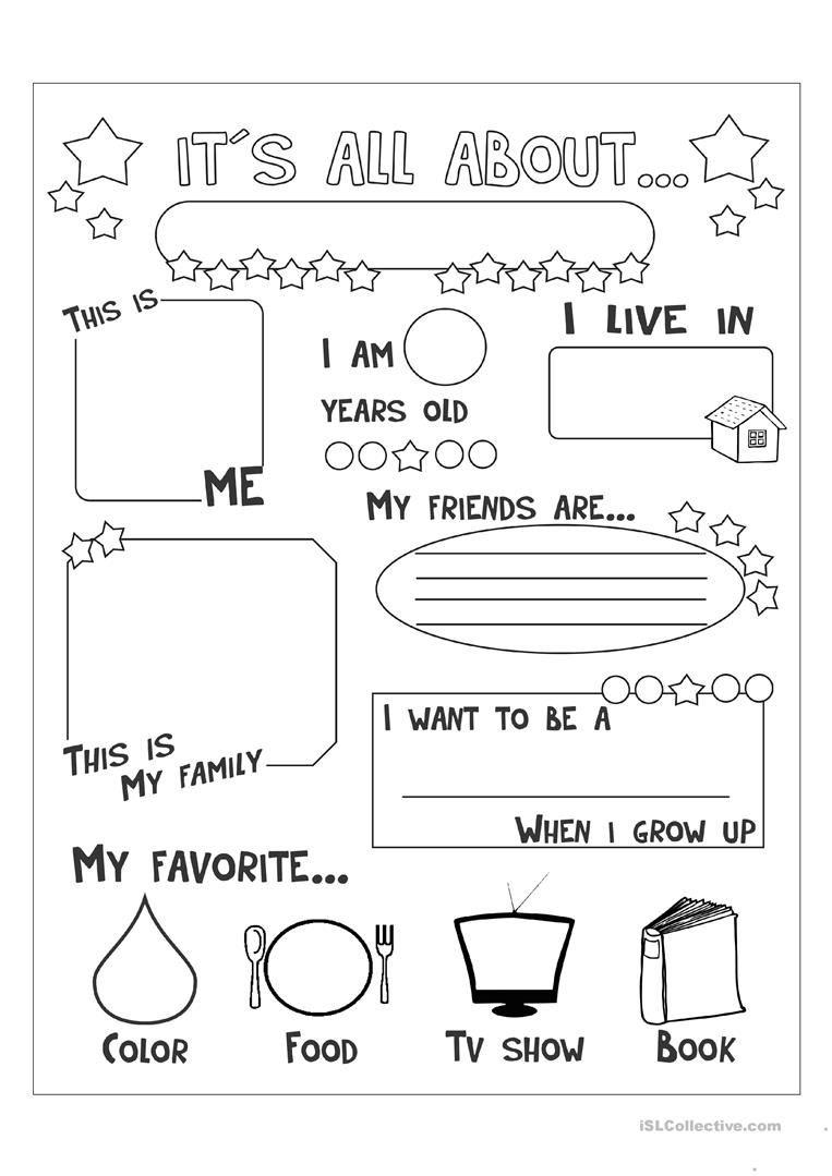 All About Me Worksheet - Free Esl Printable Worksheets Made - Free Printable Esl Resources