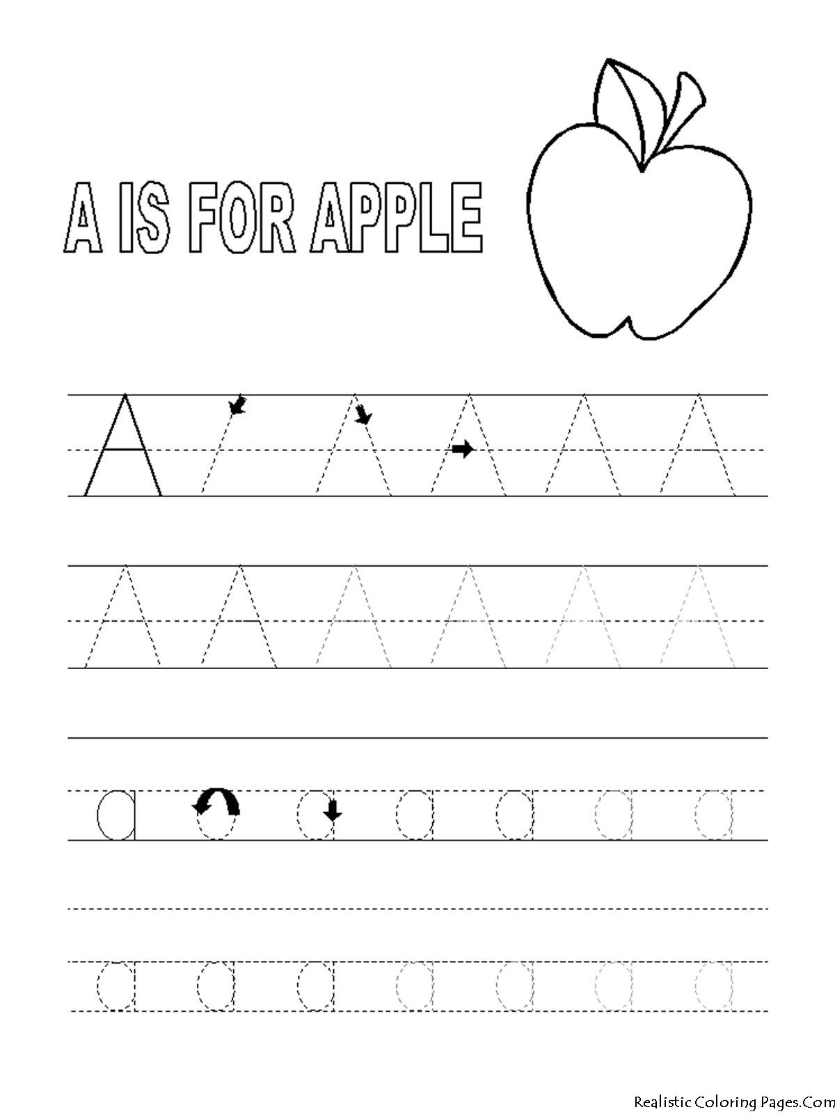 Alphabet Tracer Pages A For Apple | Coloring Pages | Alphabet - Free Printable Preschool Name Tracer Pages