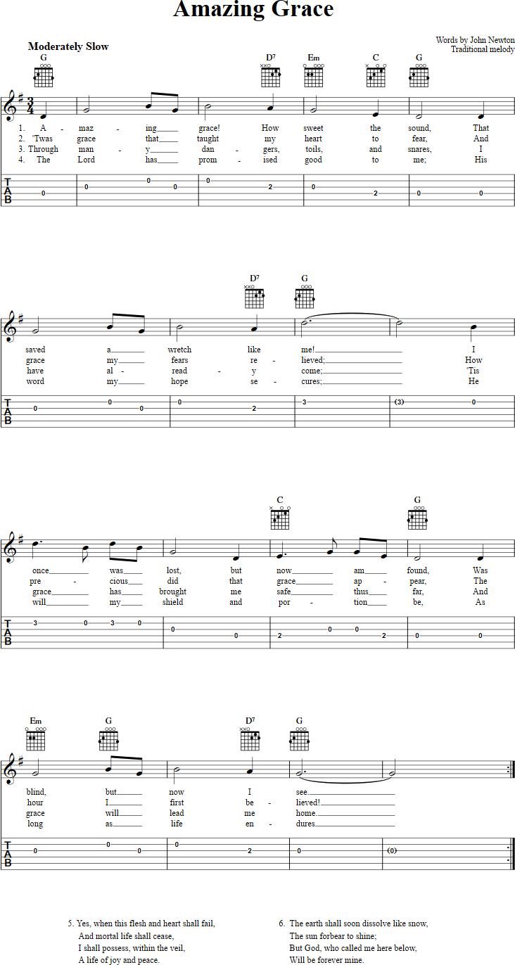 Amazing Grace: Chords, Sheet Music, And Tab For Guitar With Lyrics - Free Printable Sheet Music Lyrics