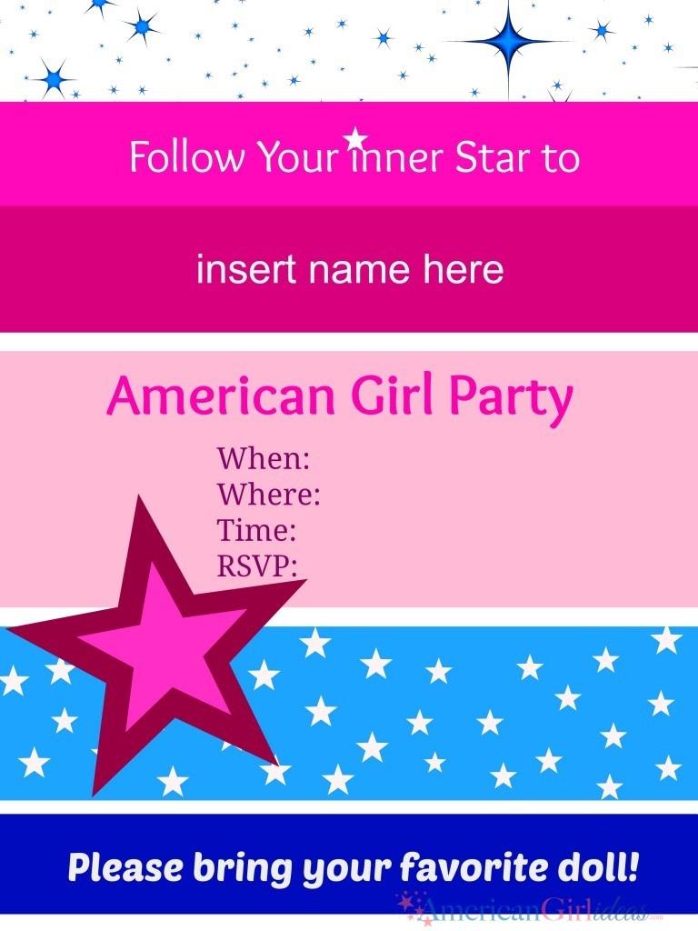 American Girl Party Invitations • American Girl Ideas   American - American Girl Party Invitations Free Printable