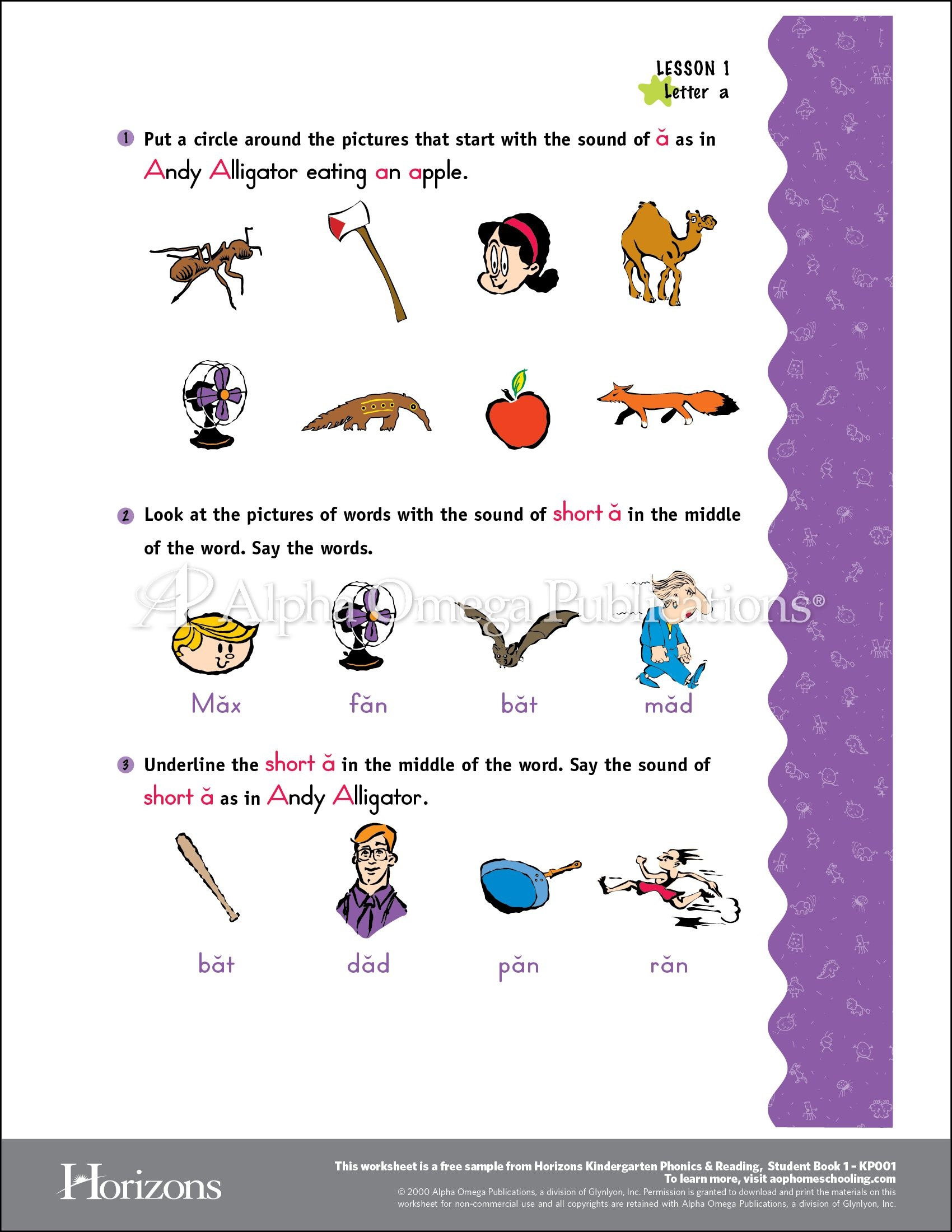 Aop Horizons Free Printable Worksheet Sample Page Download For - Free Phonics Readers Printable
