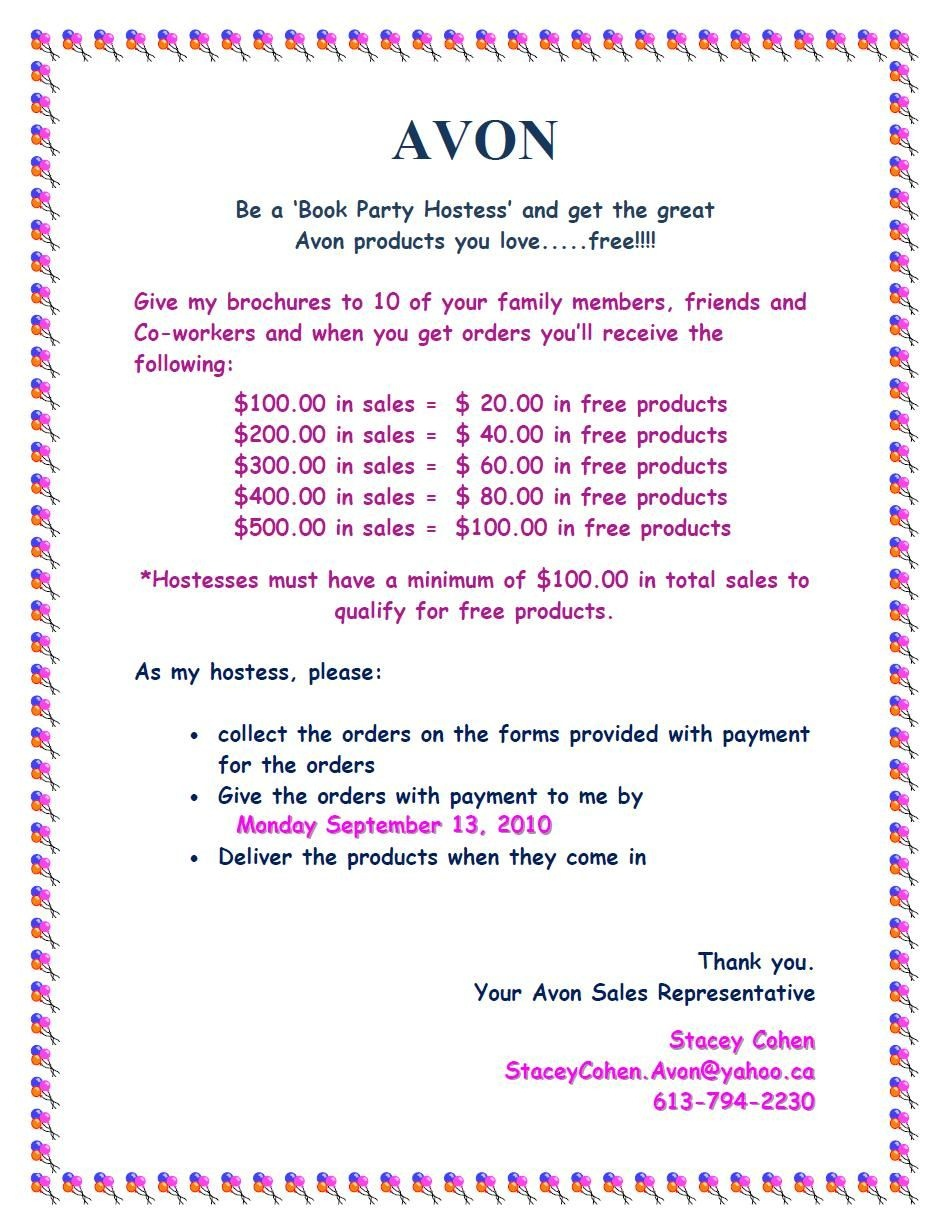 Avon Party Hostess$ | Avon | Avon Sales, Avon, Avon Online - Free Printable Avon Flyers