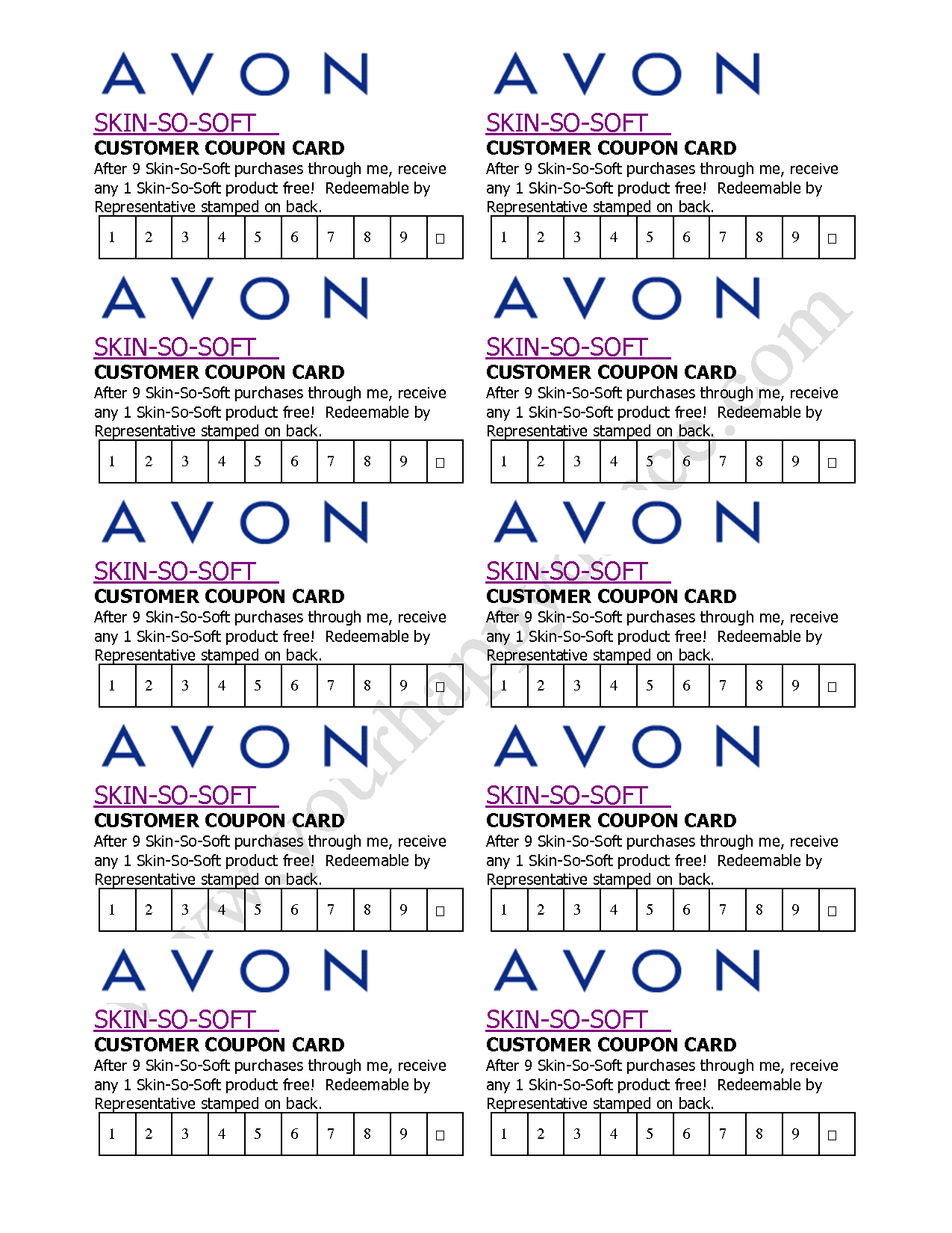 Avon Skin So Soft Coupon Card  … | Avon In 2019… - Free Printable Avon Flyers